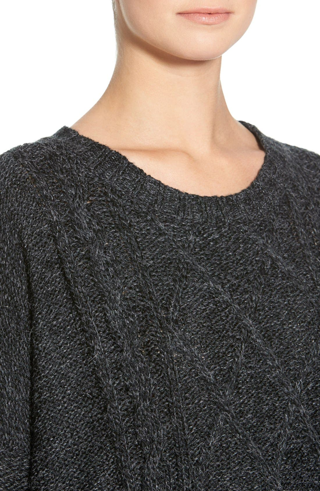 Cable Knit Sweater,                             Alternate thumbnail 5, color,                             020