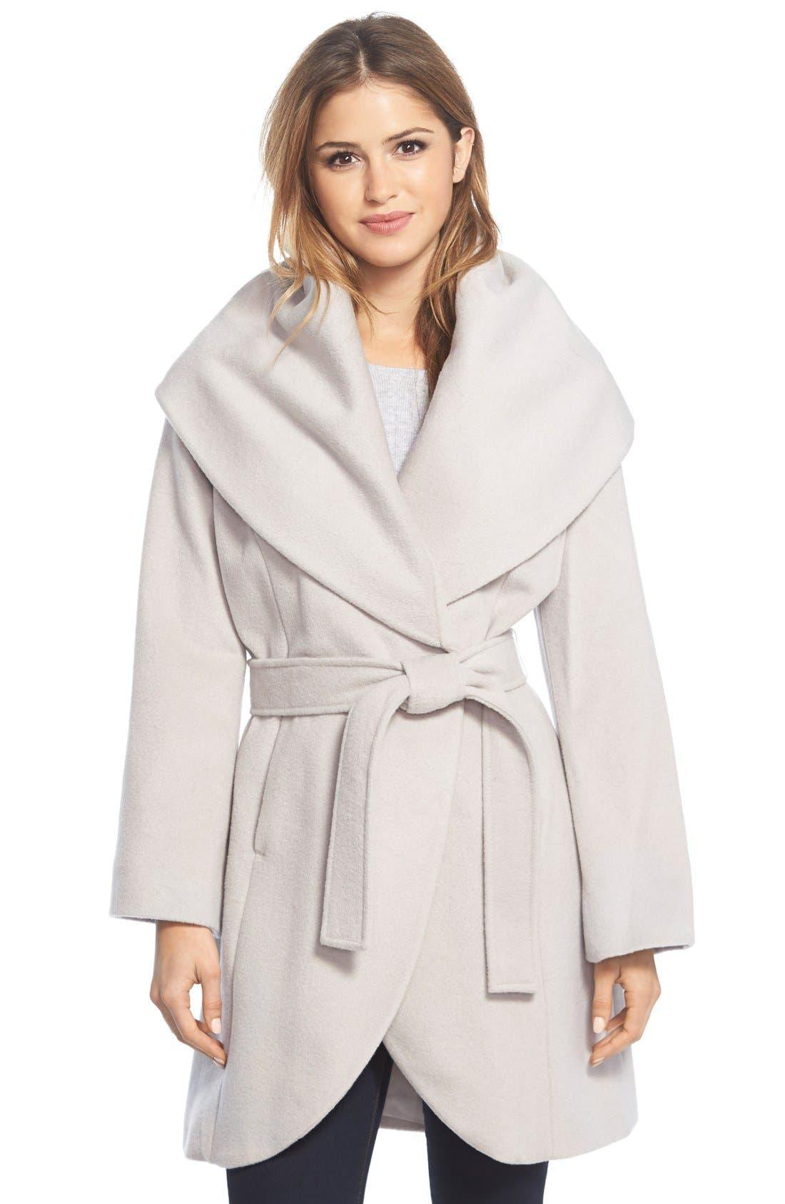 T Tahari Wool Blend Belted Wrap Coat,                             Main thumbnail 6, color,