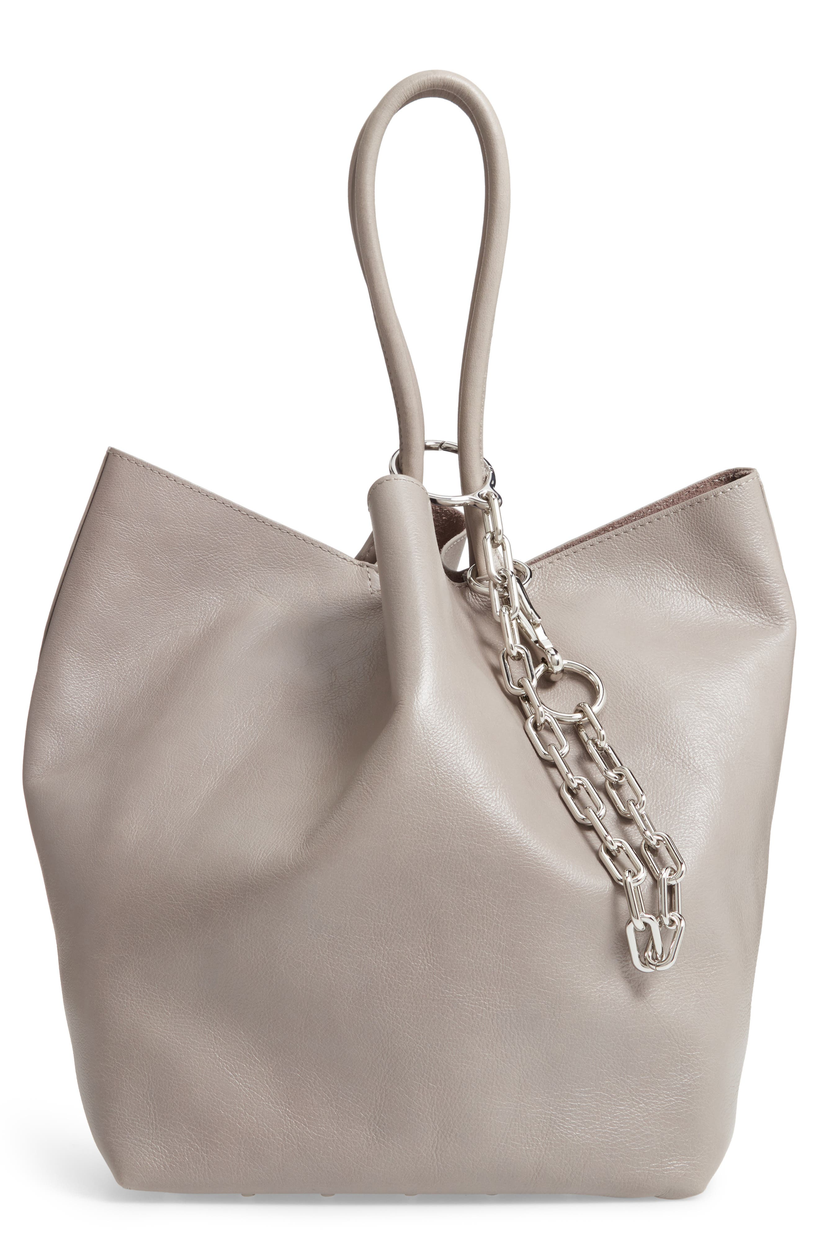 Roxy Large Leather Tote Bag,                             Main thumbnail 1, color,                             SLATE