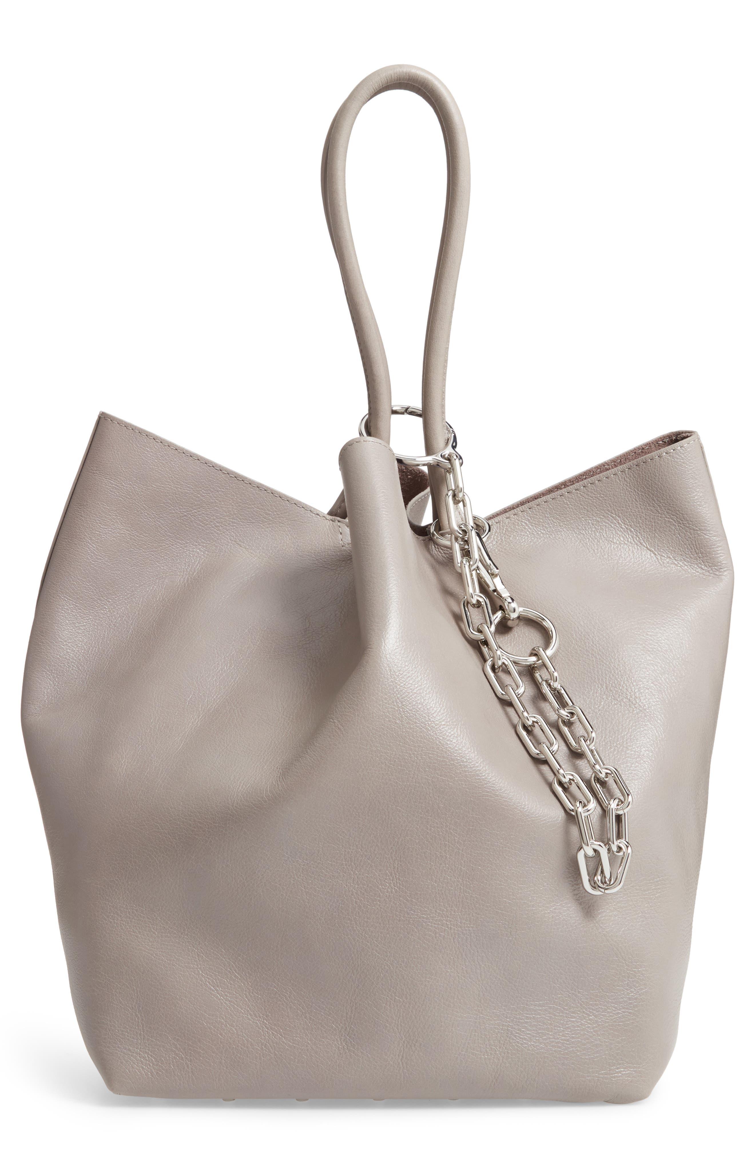 Roxy Large Leather Tote Bag,                         Main,                         color, SLATE