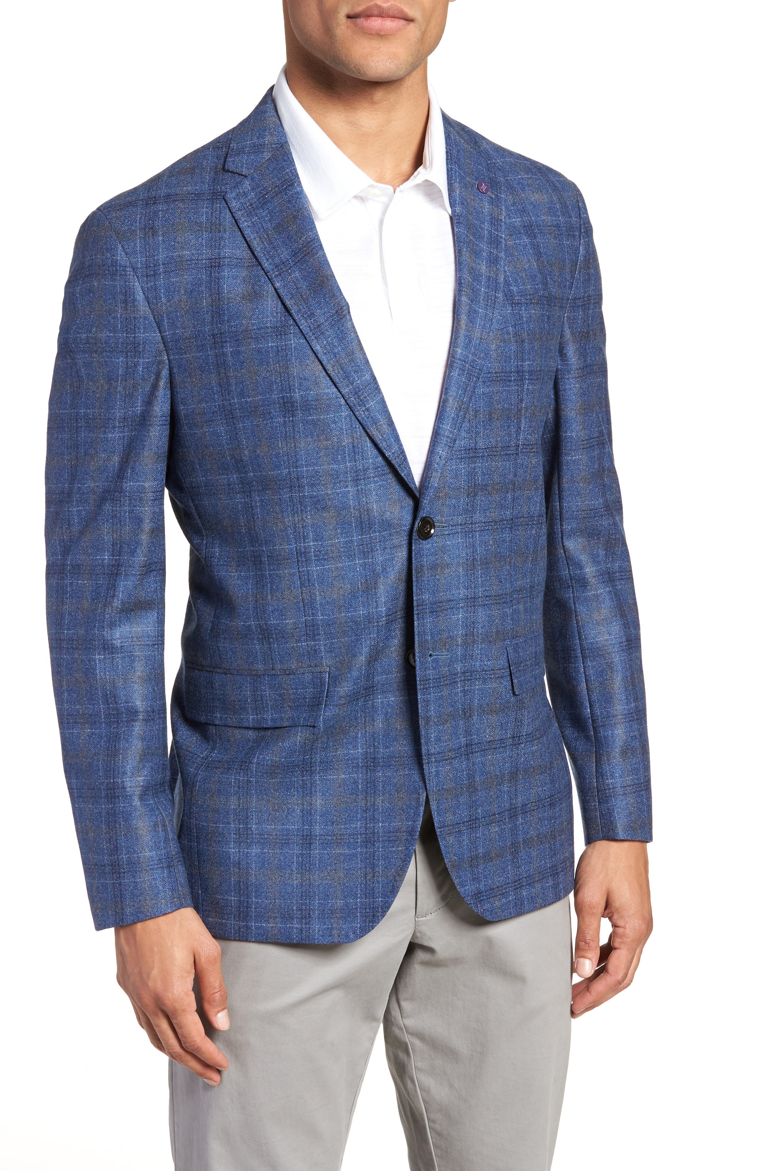 Konan Trim Fit Plaid Wool Sport Coat,                             Main thumbnail 1, color,                             BLUE