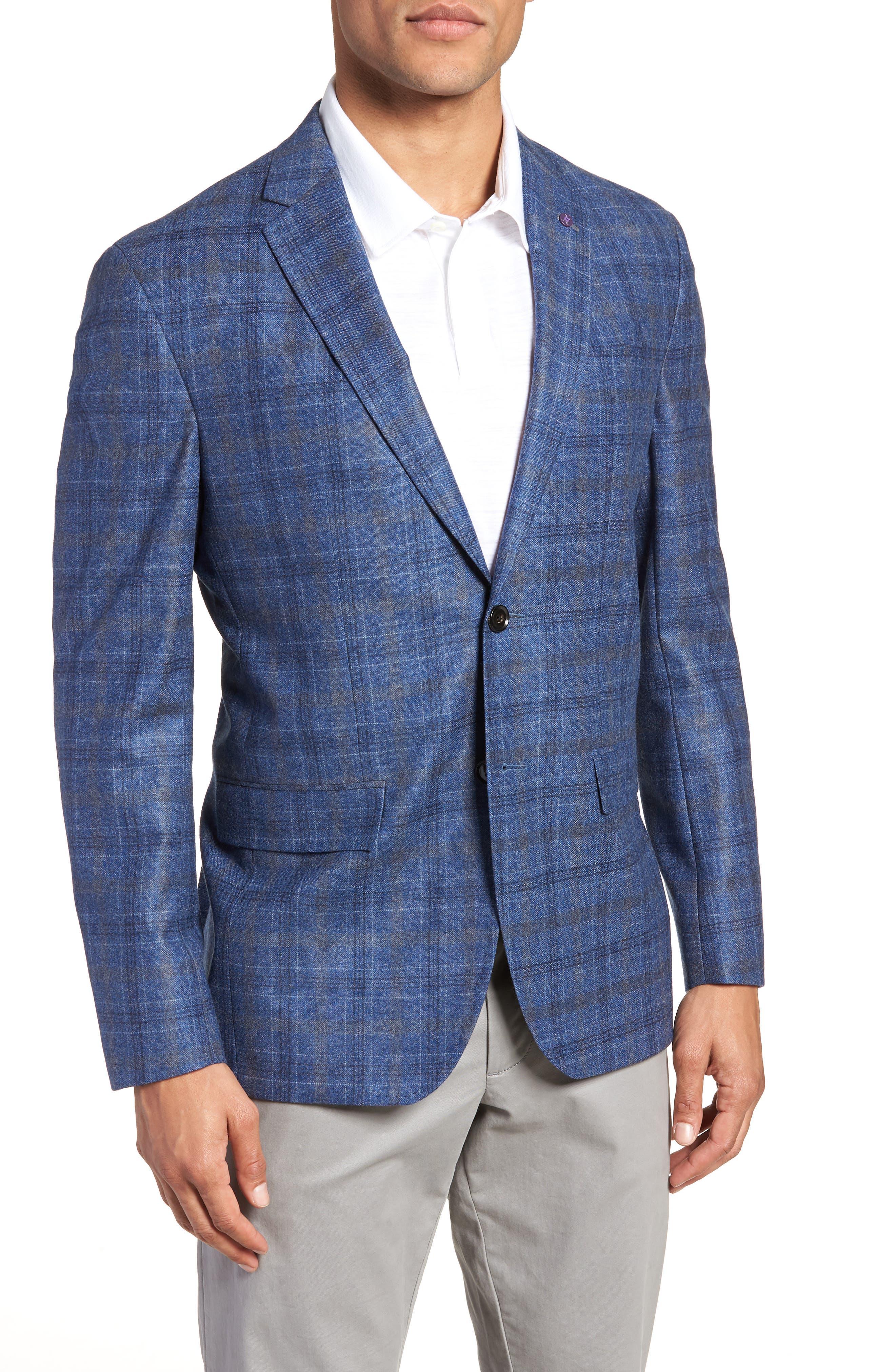 Konan Trim Fit Plaid Wool Sport Coat,                         Main,                         color, BLUE