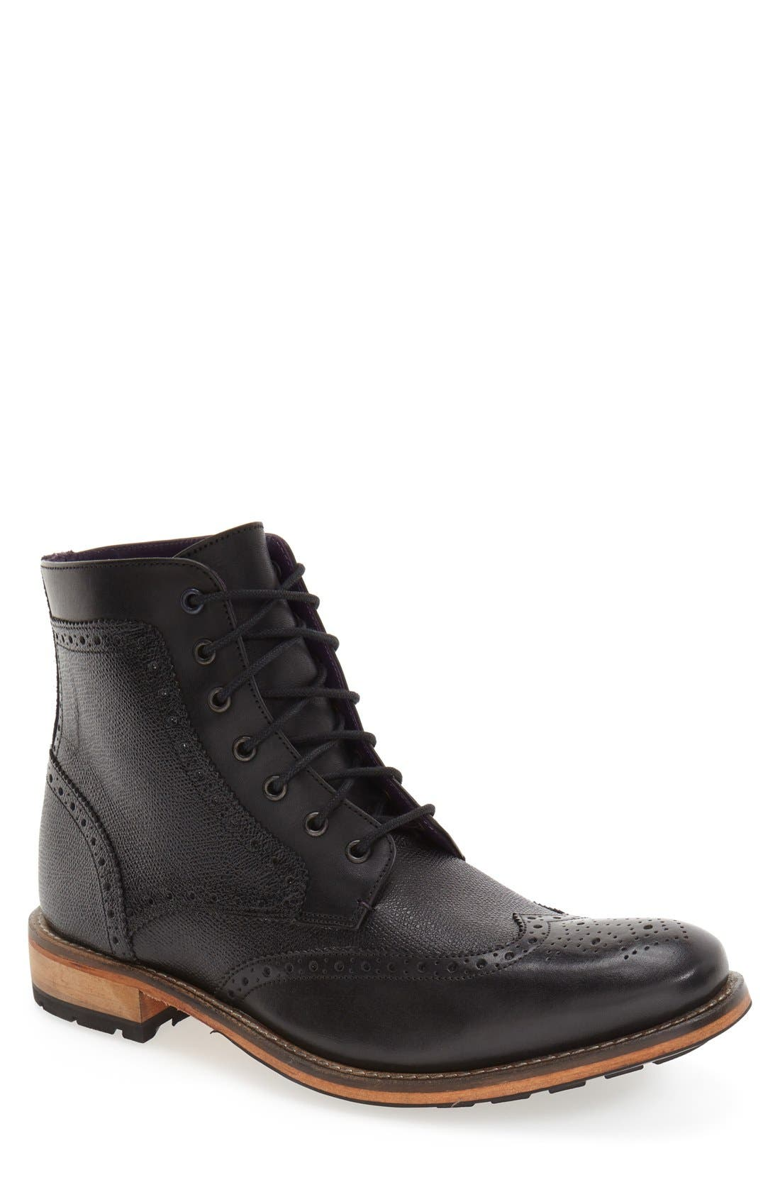 'Sealls 3' Wingtip Boot,                             Main thumbnail 1, color,                             001