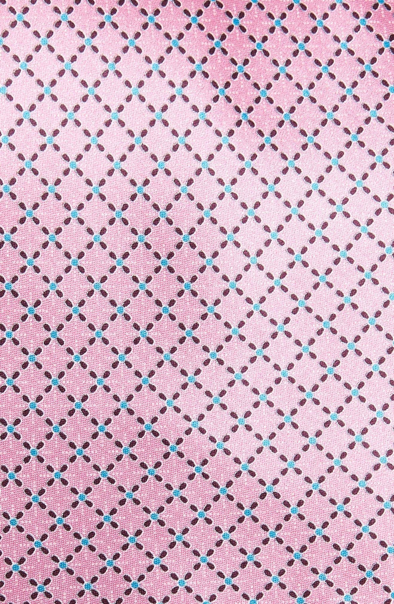 Geometric Silk Tie,                             Alternate thumbnail 2, color,                             PINK FAN