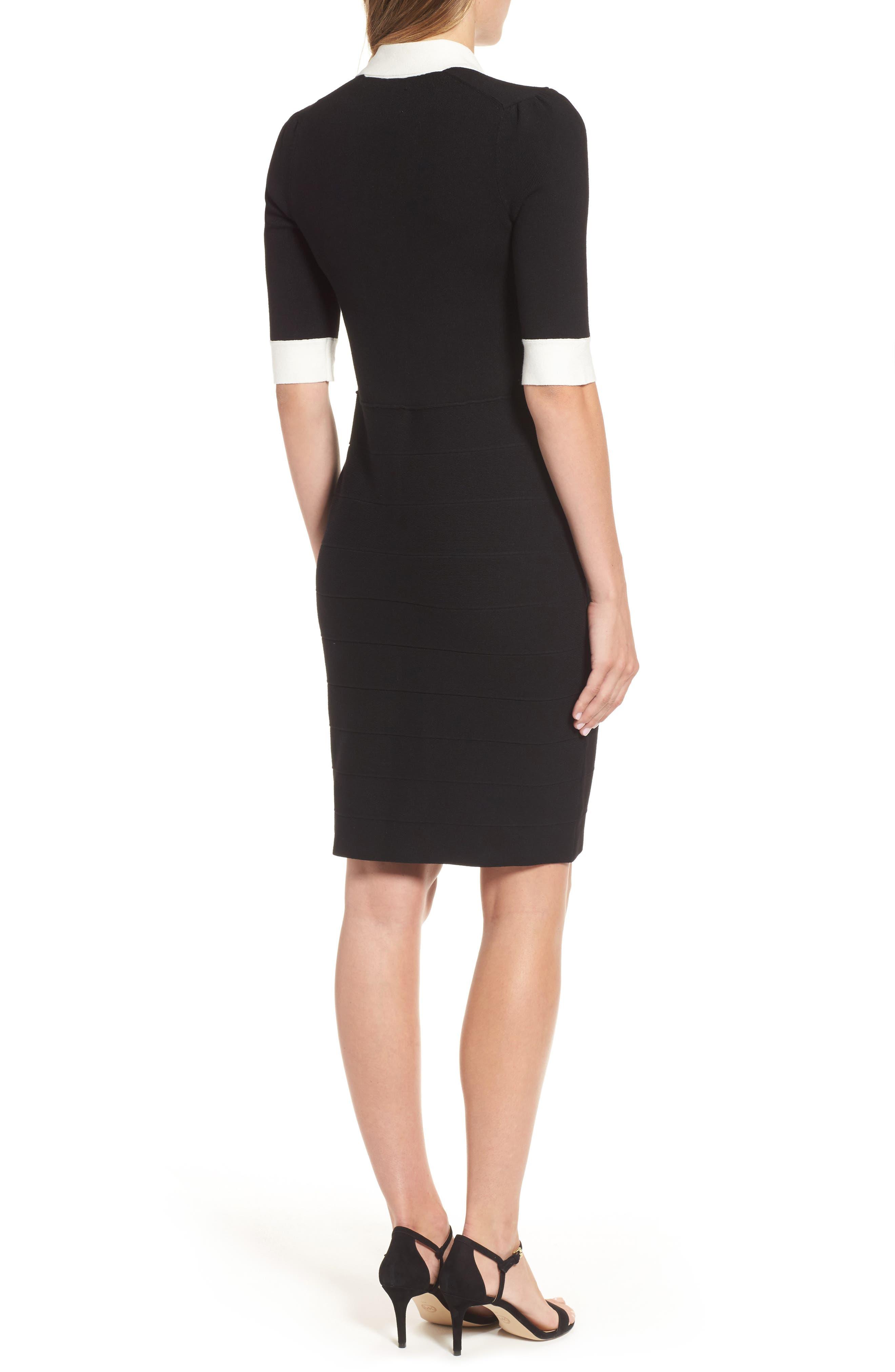 Shawl Collar Knit Sheath Dress,                             Alternate thumbnail 2, color,                             001