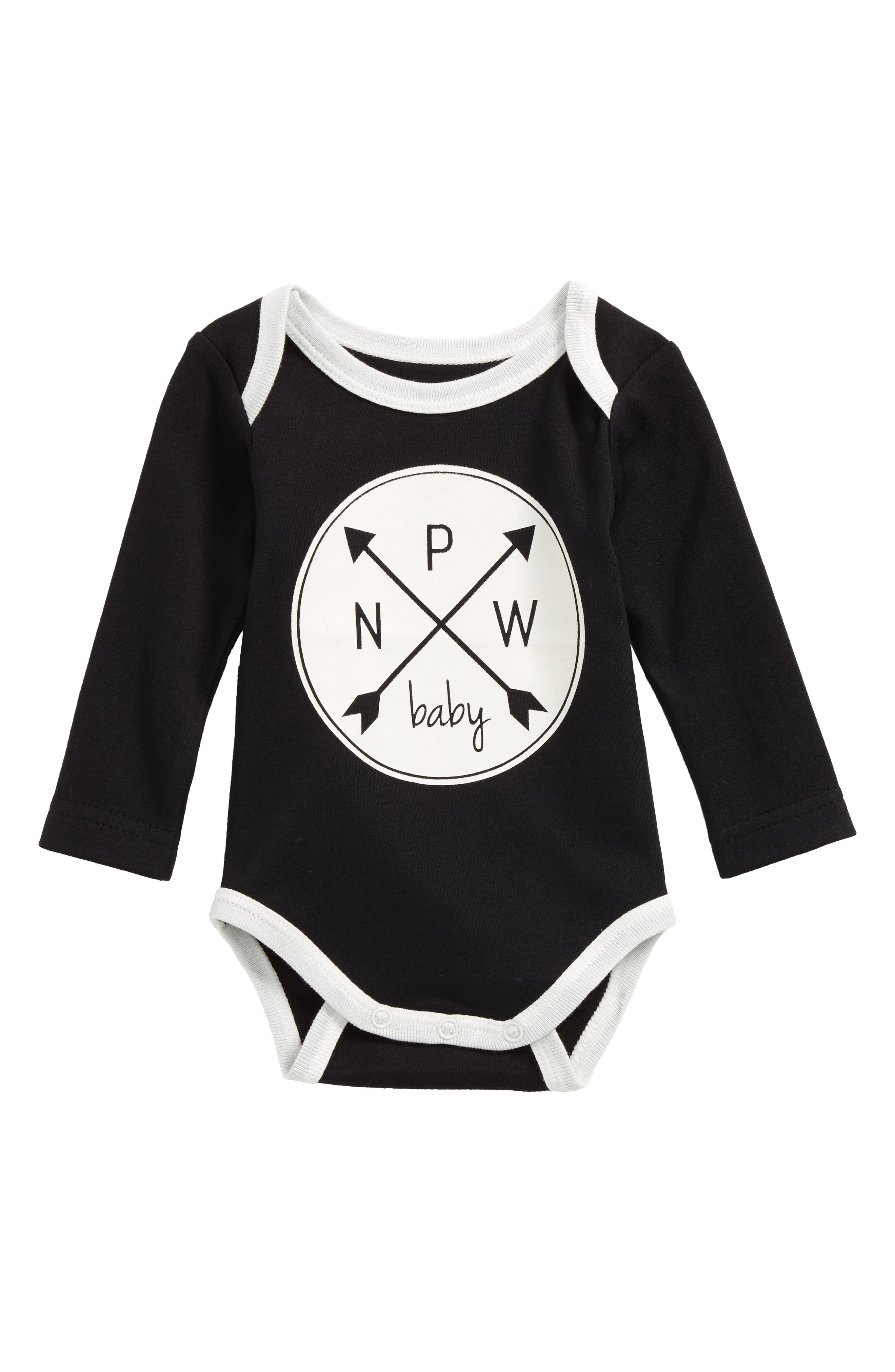 PNW Logo Graphic Organic Cotton Bodysuit,                             Main thumbnail 1, color,                             001