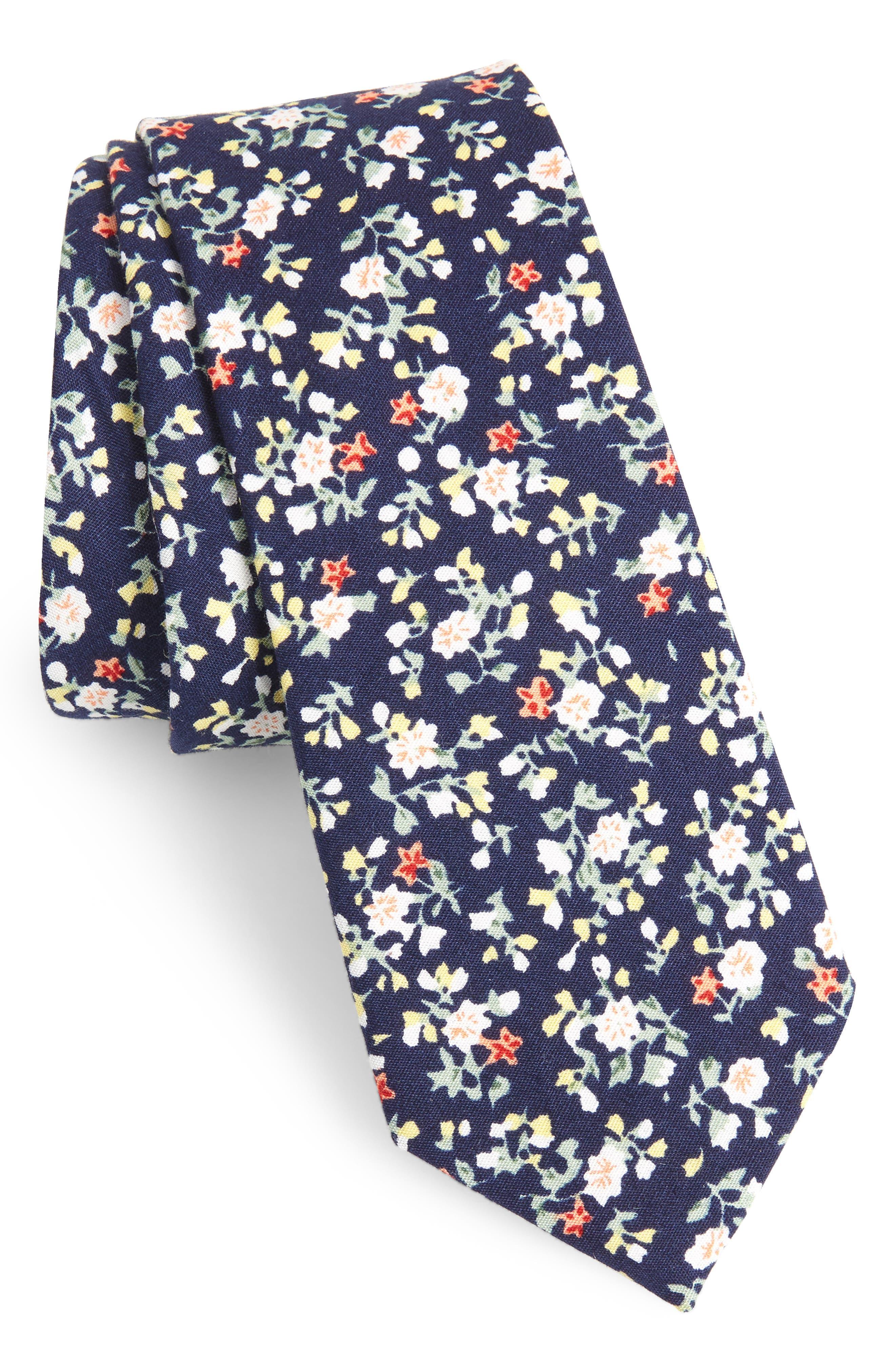 Venera Floral Cotton Tie,                             Main thumbnail 1, color,                             NAVY