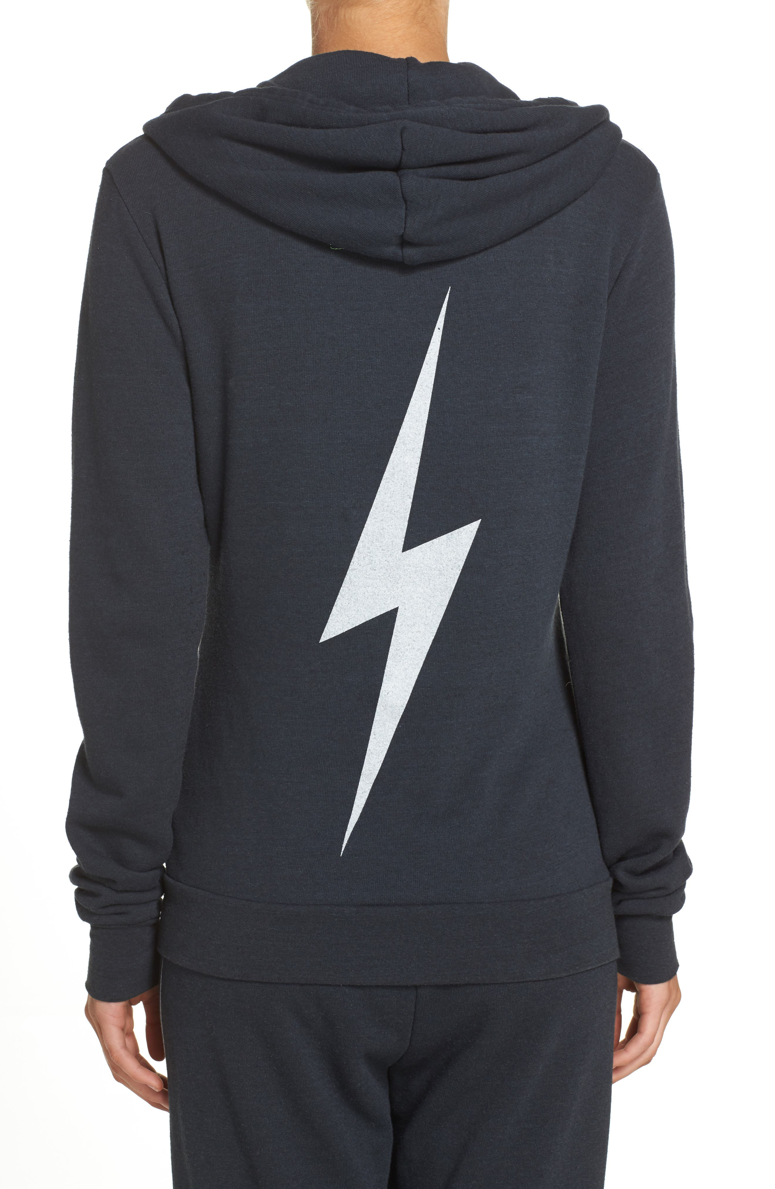 Bolt Zip Hoodie,                             Alternate thumbnail 6, color,                             CHARCOAL