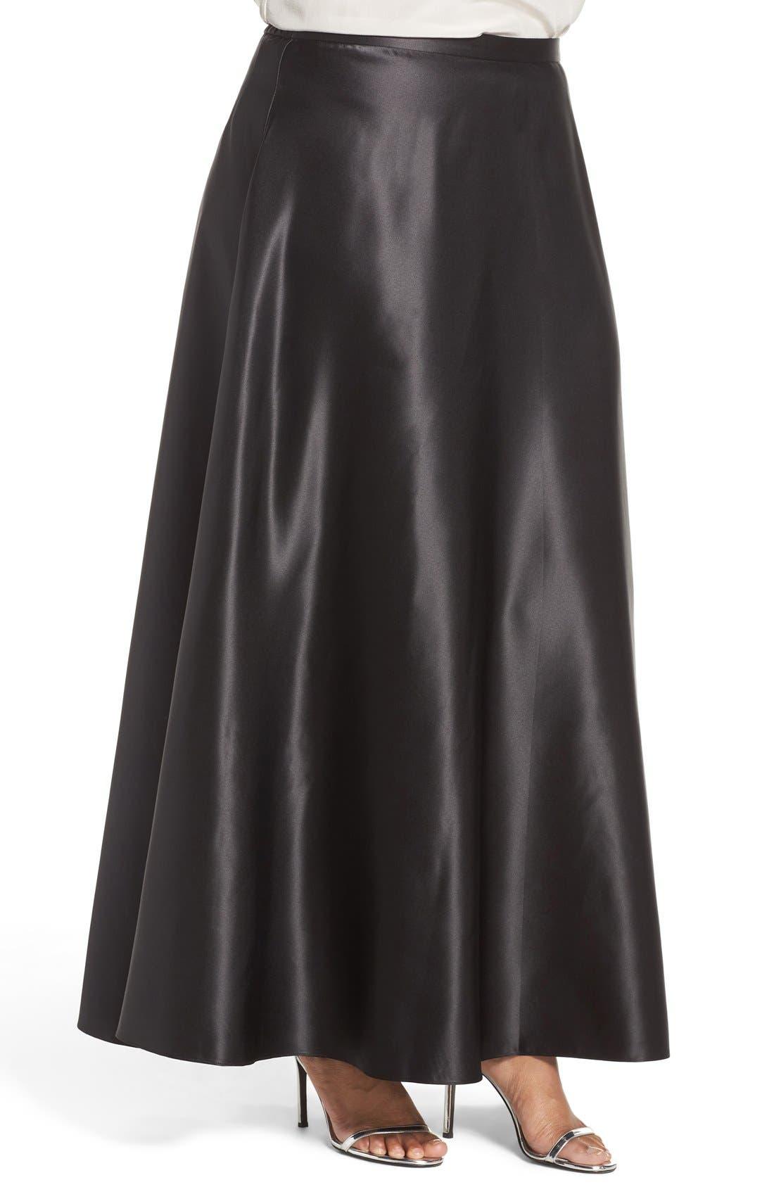 Satin Long Circle Skirt,                             Alternate thumbnail 3, color,                             001