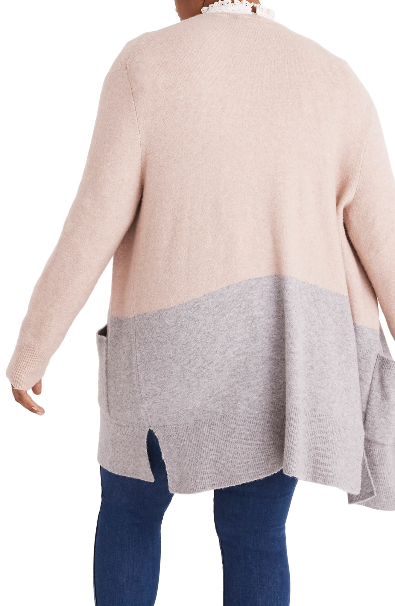Kent Colorblock Cardigan Sweater,                             Alternate thumbnail 6, color,                             HEATHER BEIGE