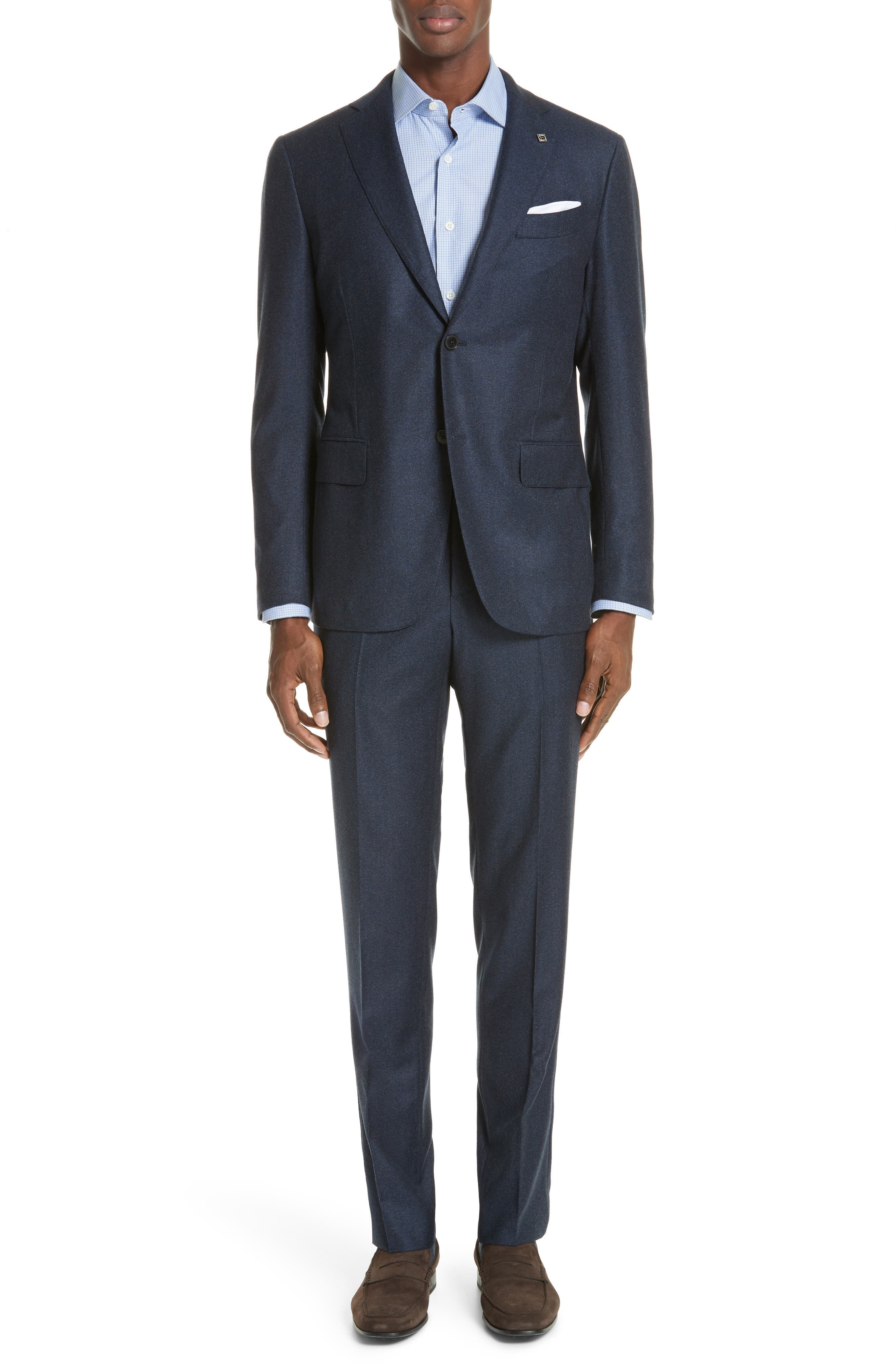 EIDOS Trim Fit Solid Wool Suit in Navy