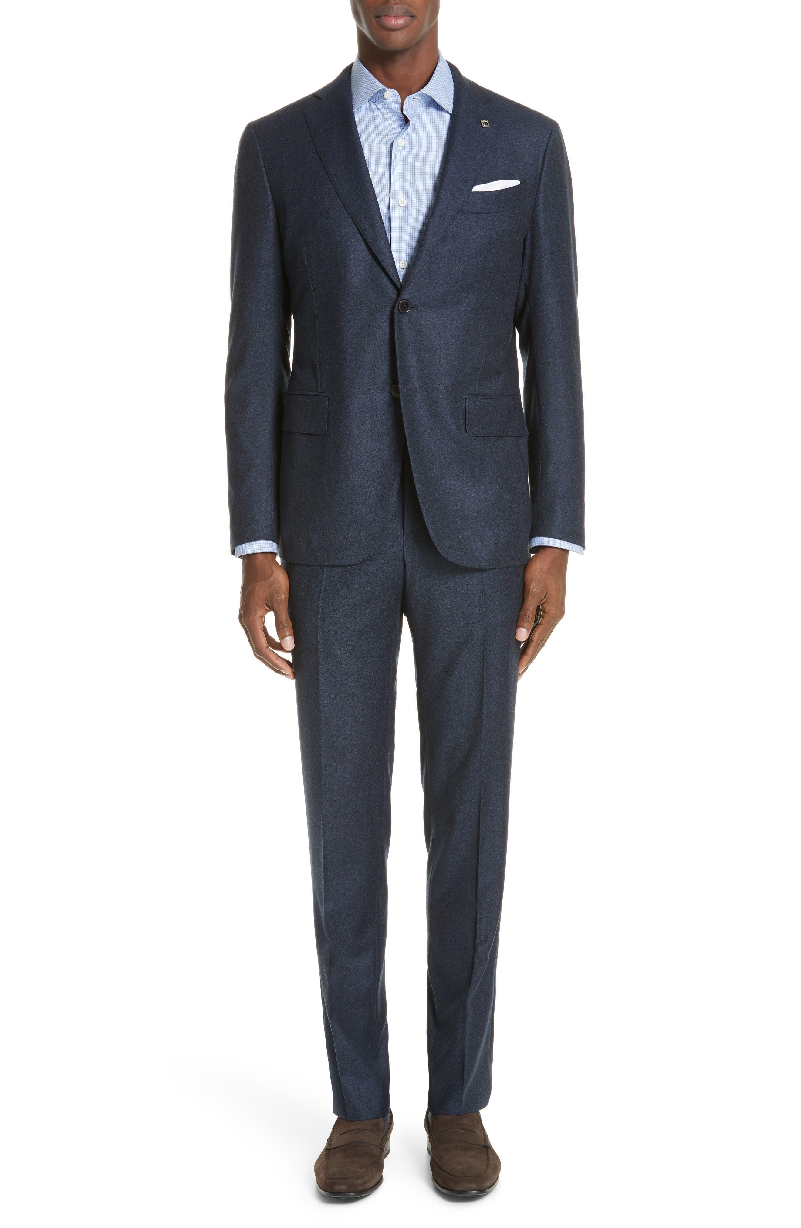 Trim Fit Solid Wool Suit,                             Main thumbnail 1, color,                             NAVY