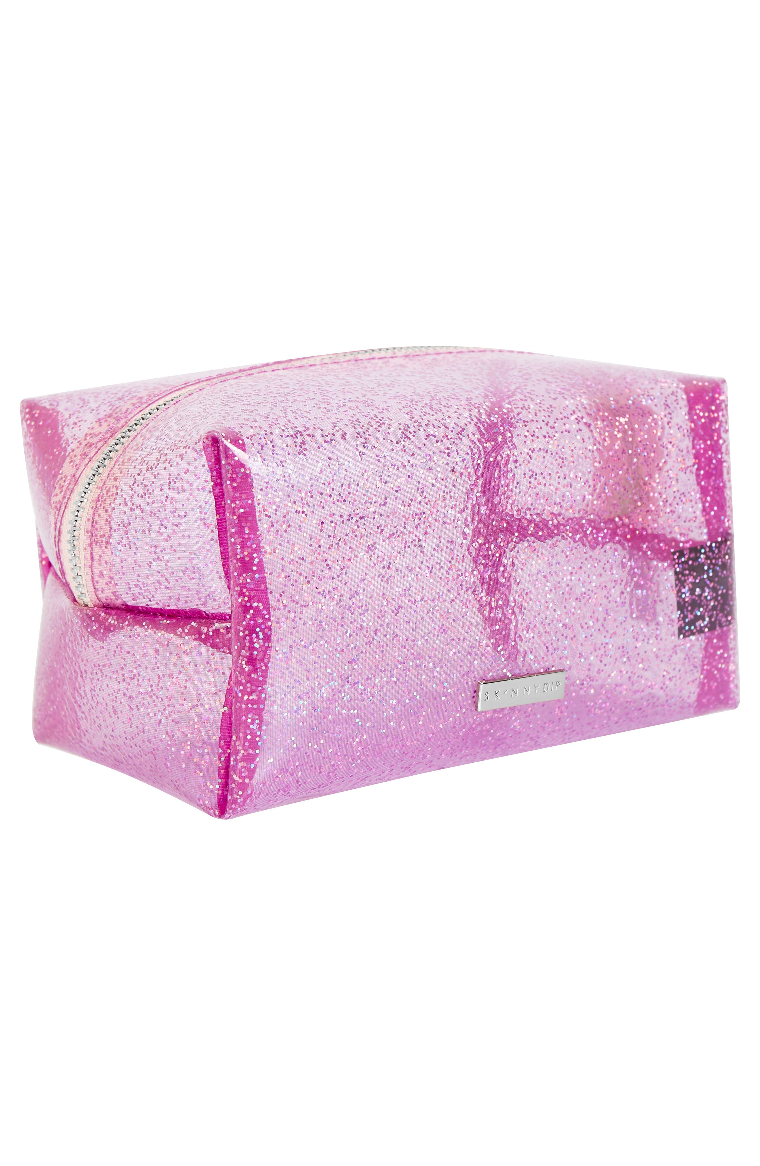 Glitter Bomb Makeup Bag,                             Alternate thumbnail 3, color,                             NO COLOR