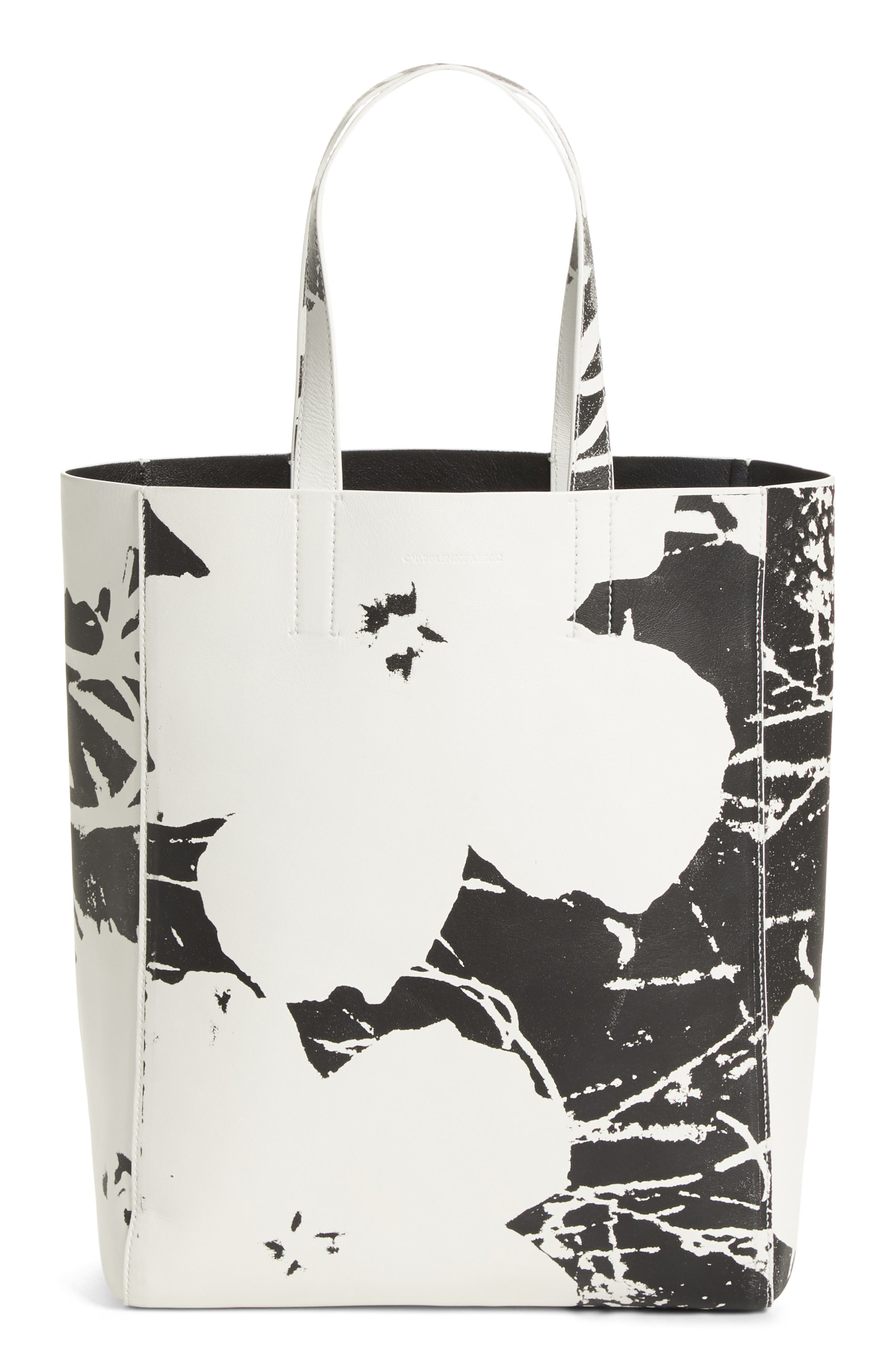 x Andy Warhol Foundation Flowers Leather Tote,                             Main thumbnail 1, color,                             WHITE/ BLACK