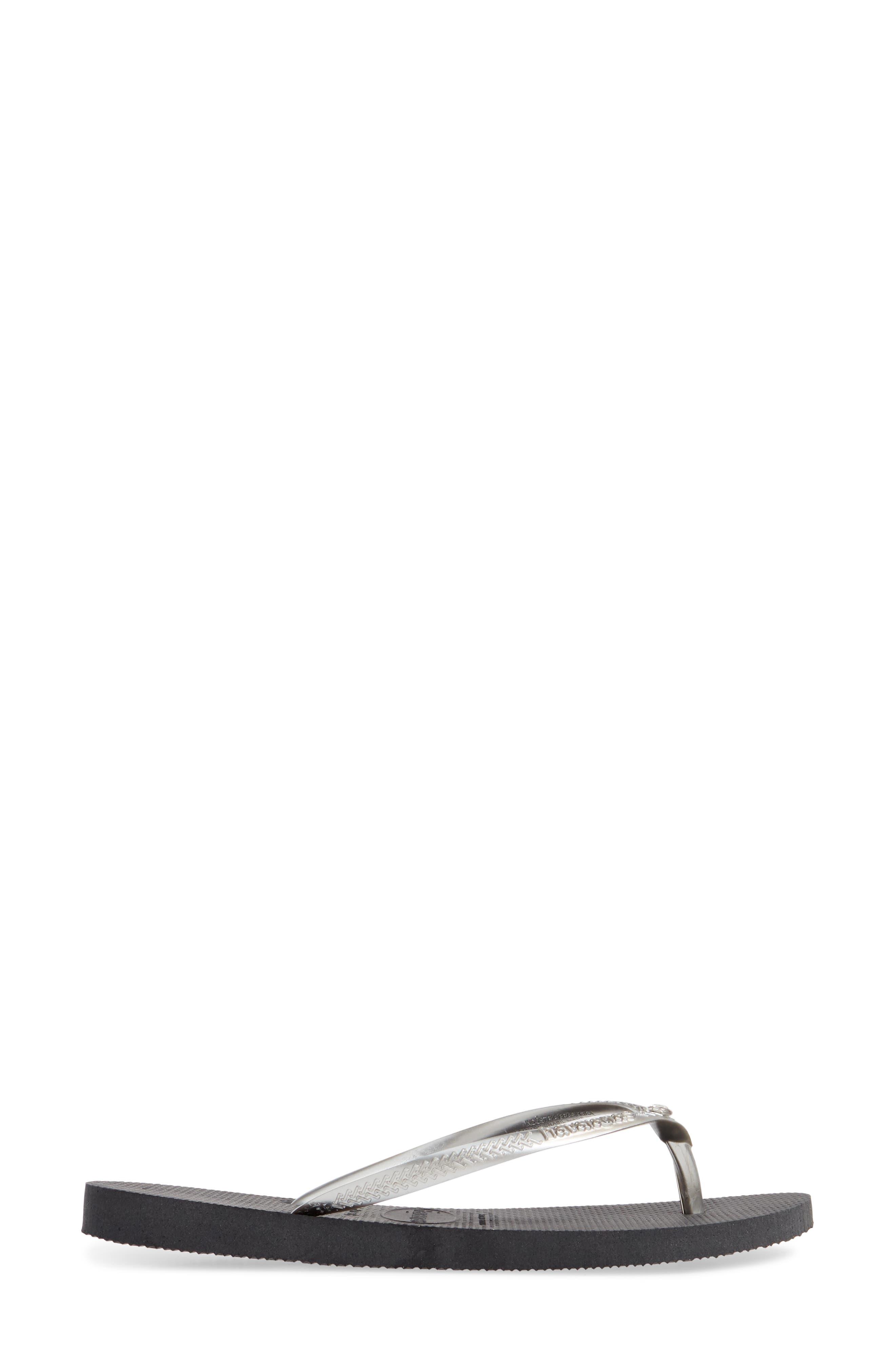 'Slim Crystal Glamour' Flip Flop,                             Alternate thumbnail 4, color,                             NEW GRAPHITE/ SILVER METALLIC