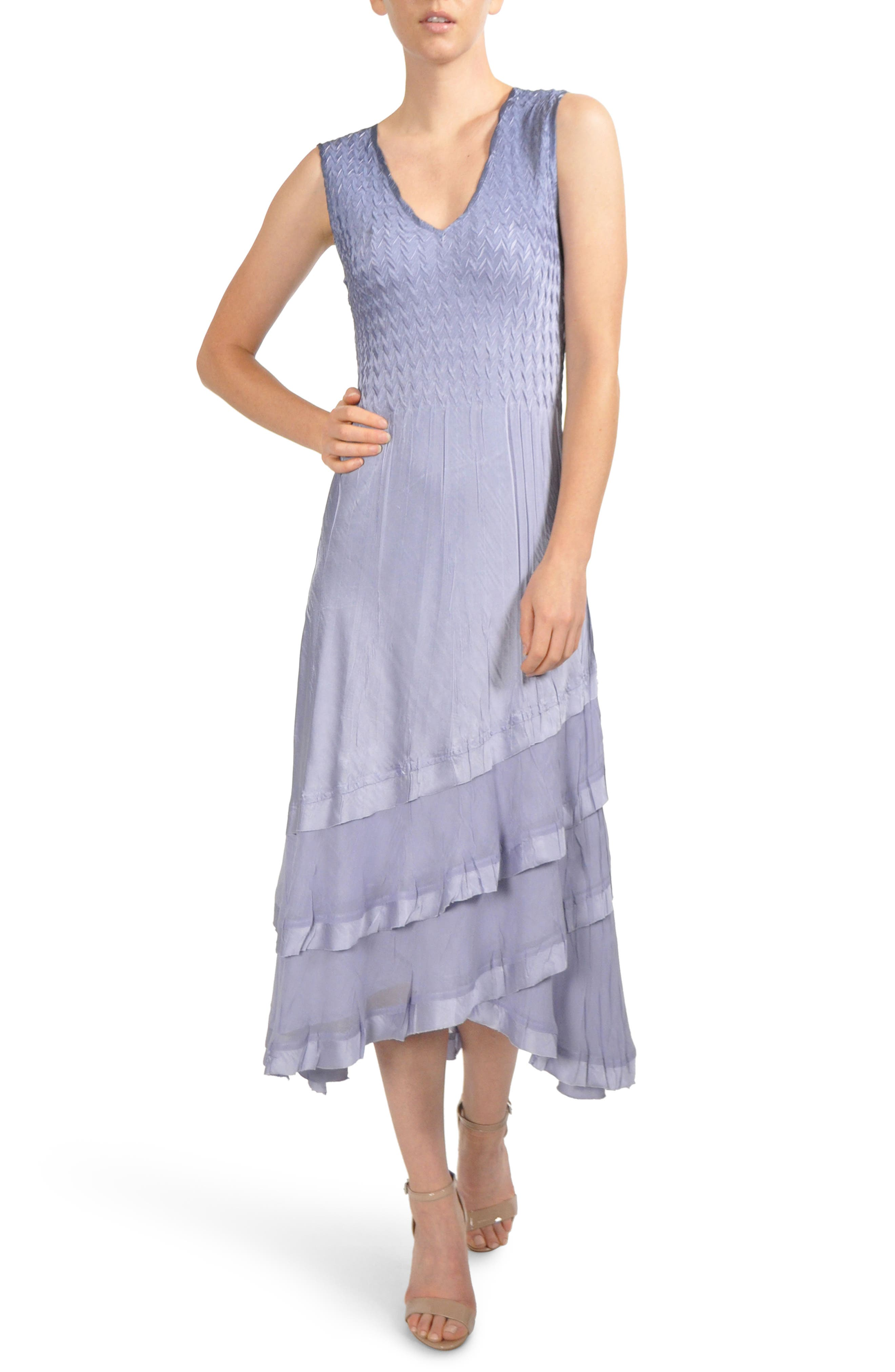Charmeuse & Chiffon Tiered Hem Dress with Jacket,                             Main thumbnail 1, color,                             LAVENDER GREY BLUE OMBRE