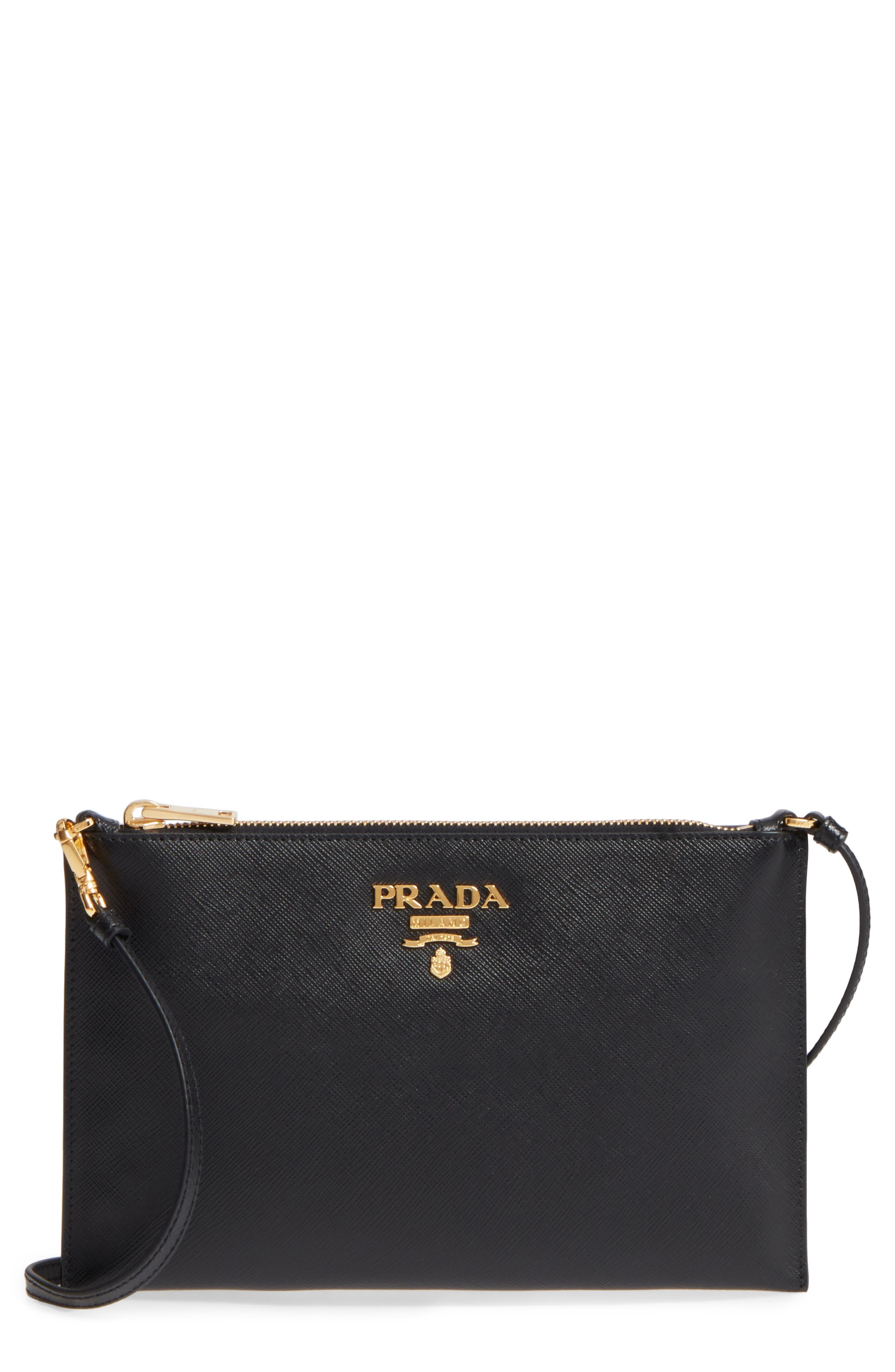 Small Saffiano Leather Shoulder Bag,                             Main thumbnail 1, color,                             F0002 NERO