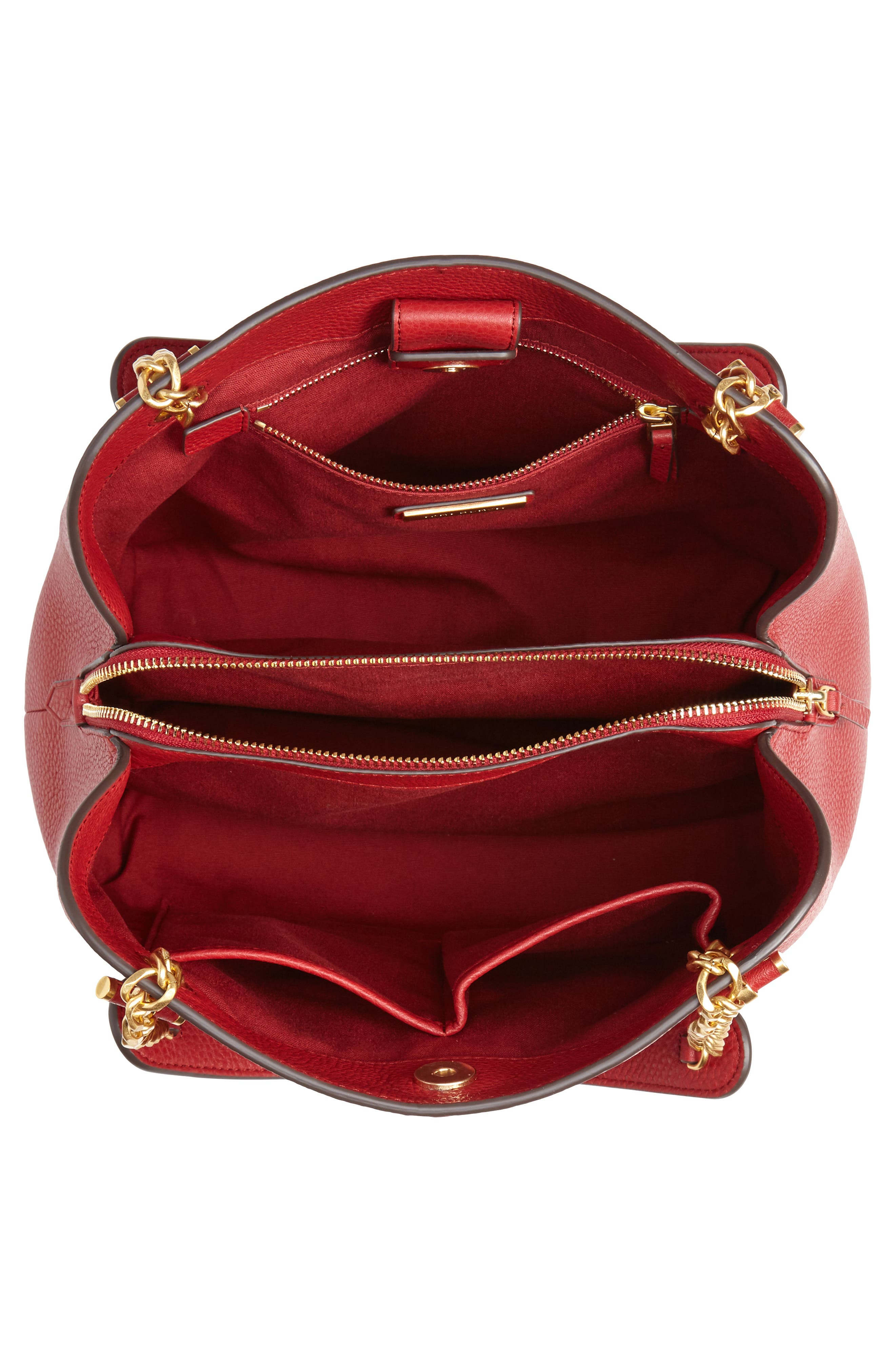 Small Chelsea Leather Tote,                             Alternate thumbnail 4, color,                             REDSTONE