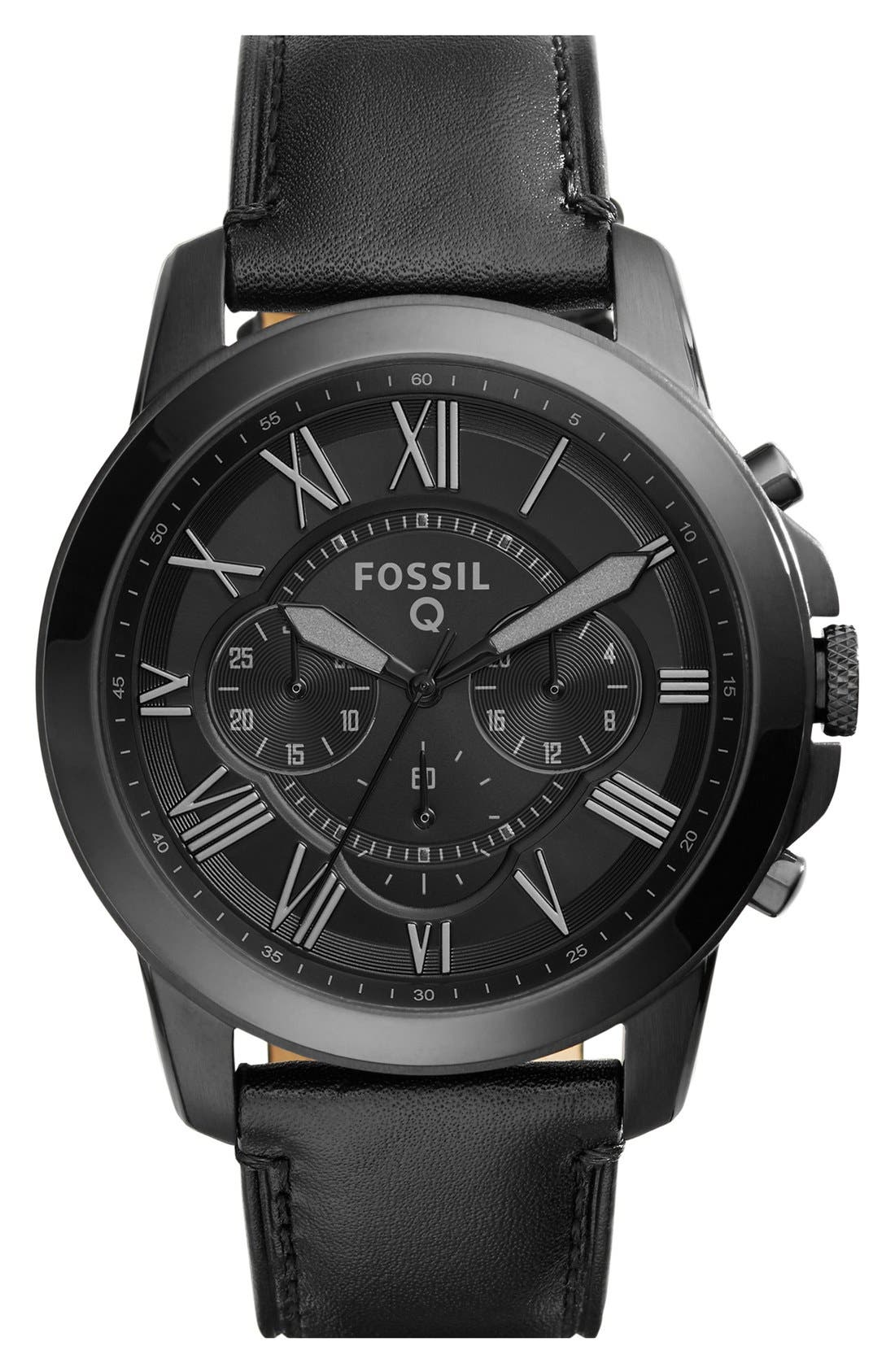Fossil 'Fossil Q - Grant' Round Chronograph Leather Strap Smart Watch, 44mm,                             Main thumbnail 1, color,                             001