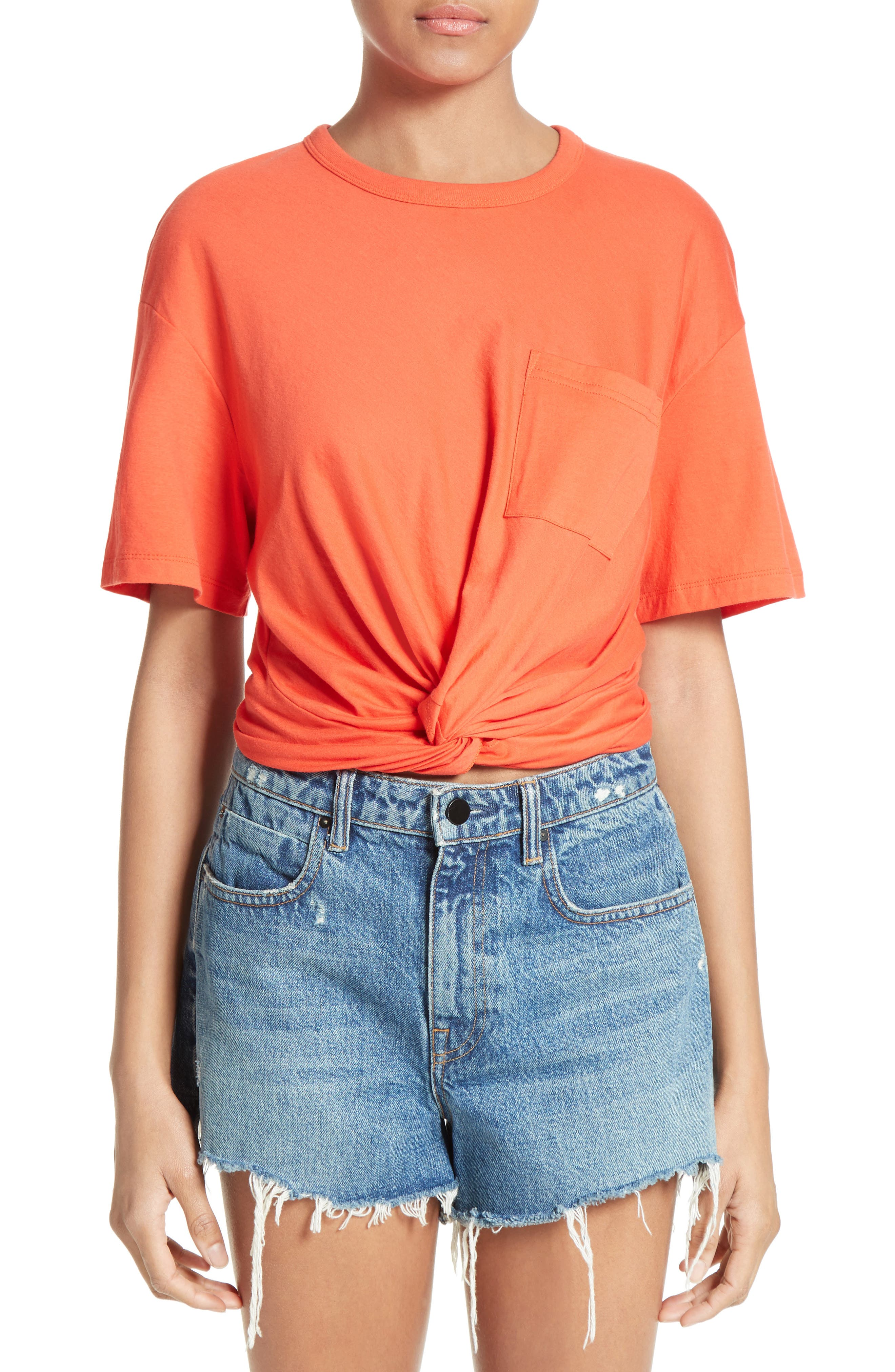 T by Alexander Wang Twist Front Tee,                             Main thumbnail 1, color,                             624
