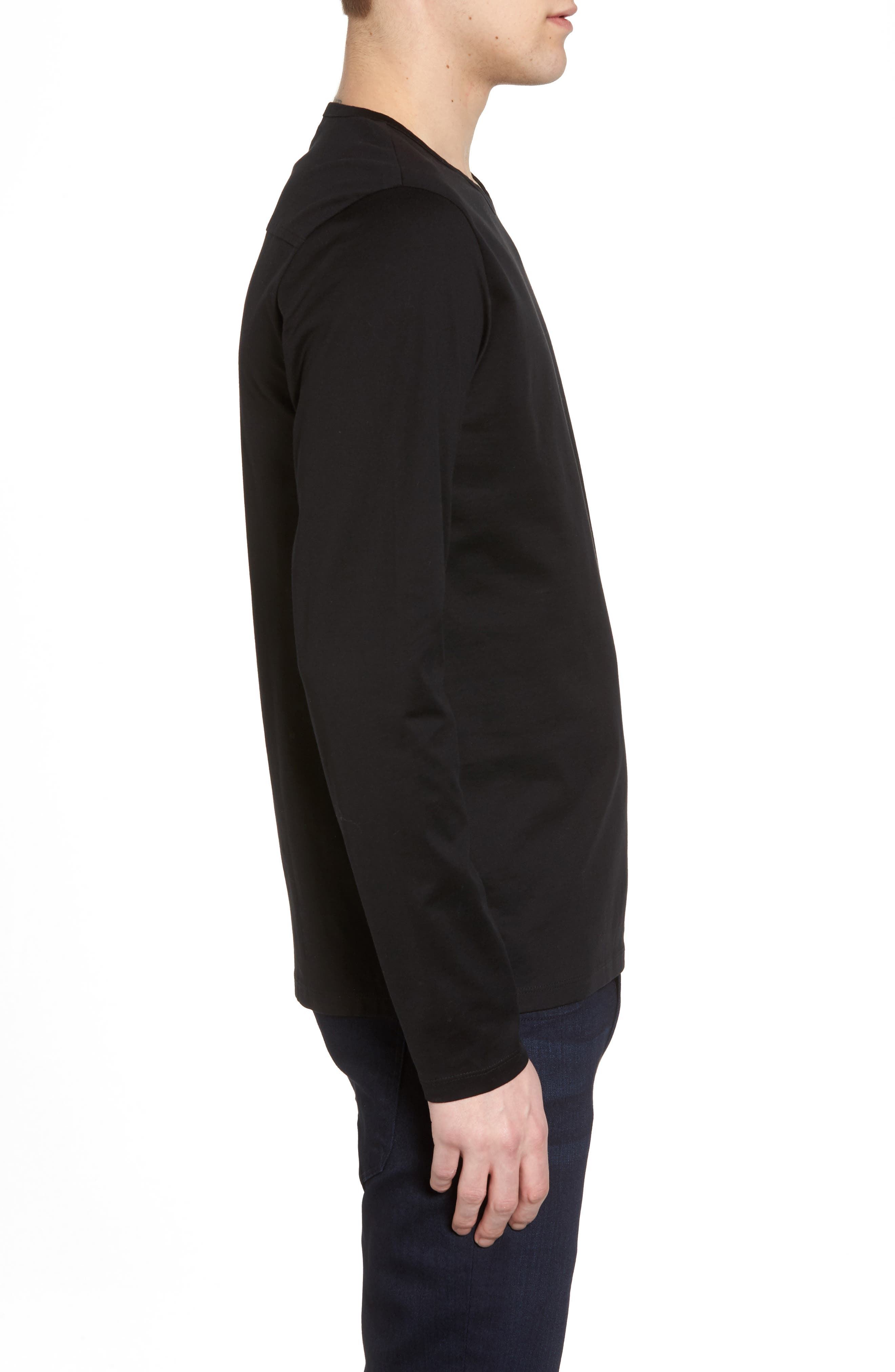 Mercerized Cotton Crewneck Long Sleeve T-Shirt,                             Alternate thumbnail 3, color,                             001
