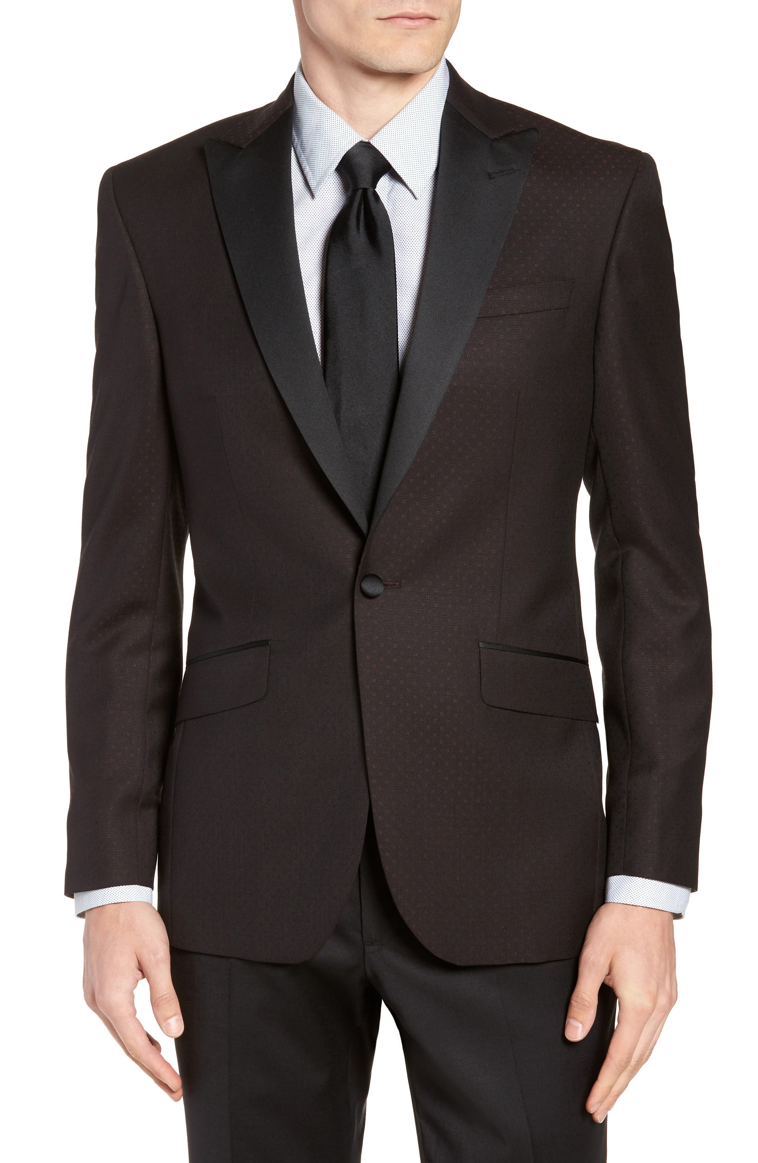 Jules Trim Fit Wool Dinner Jacket,                             Main thumbnail 1, color,                             BURGUNDY