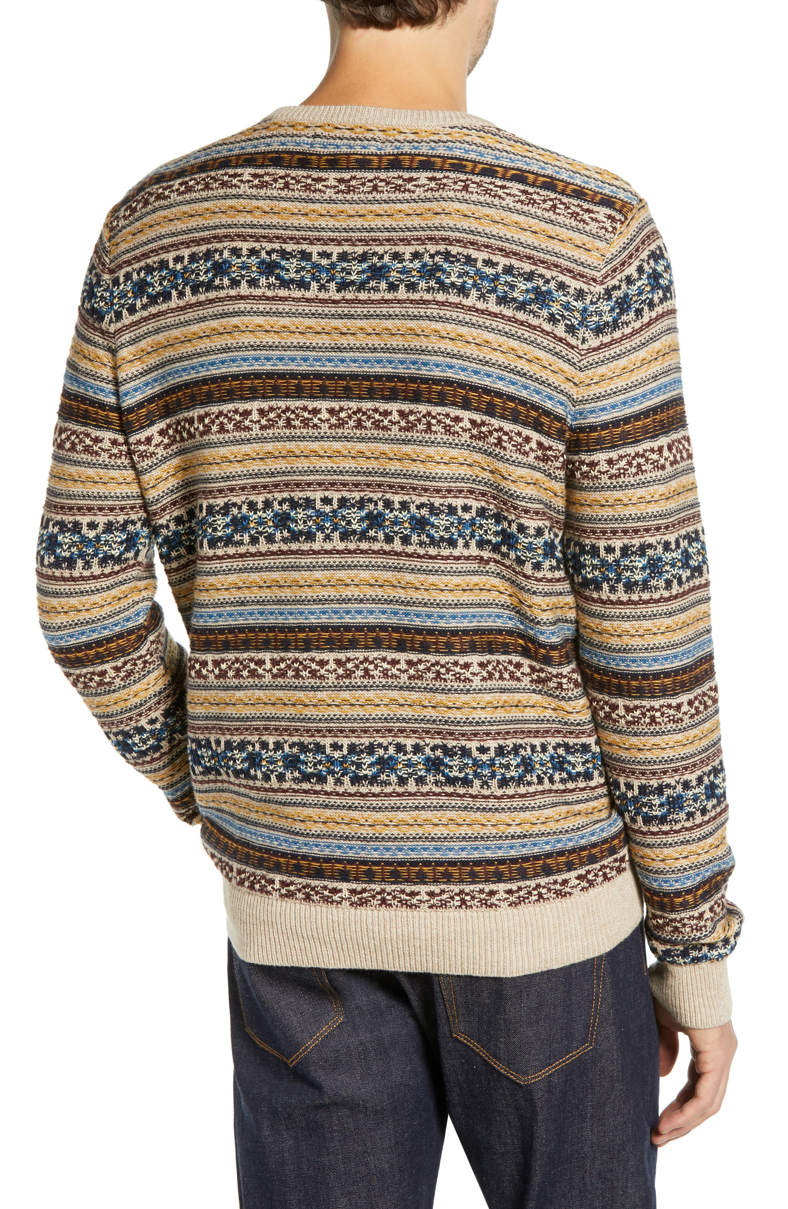Regular Fit Fair Isle Crewneck Sweater,                             Alternate thumbnail 2, color,                             BROWN SIENA FAIRISLE
