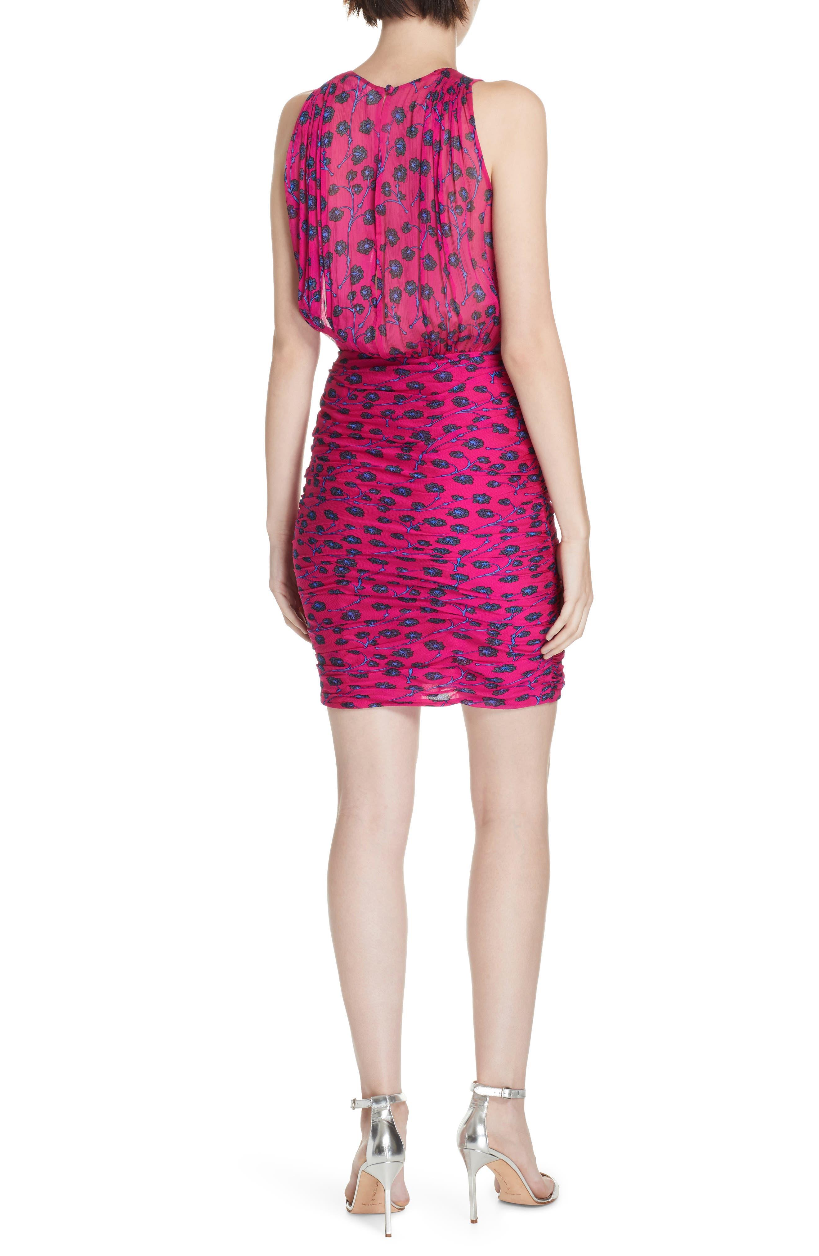 Micah Ruched Blouson Dress,                             Alternate thumbnail 2, color,                             DRAGON BERRY DITSY PINK