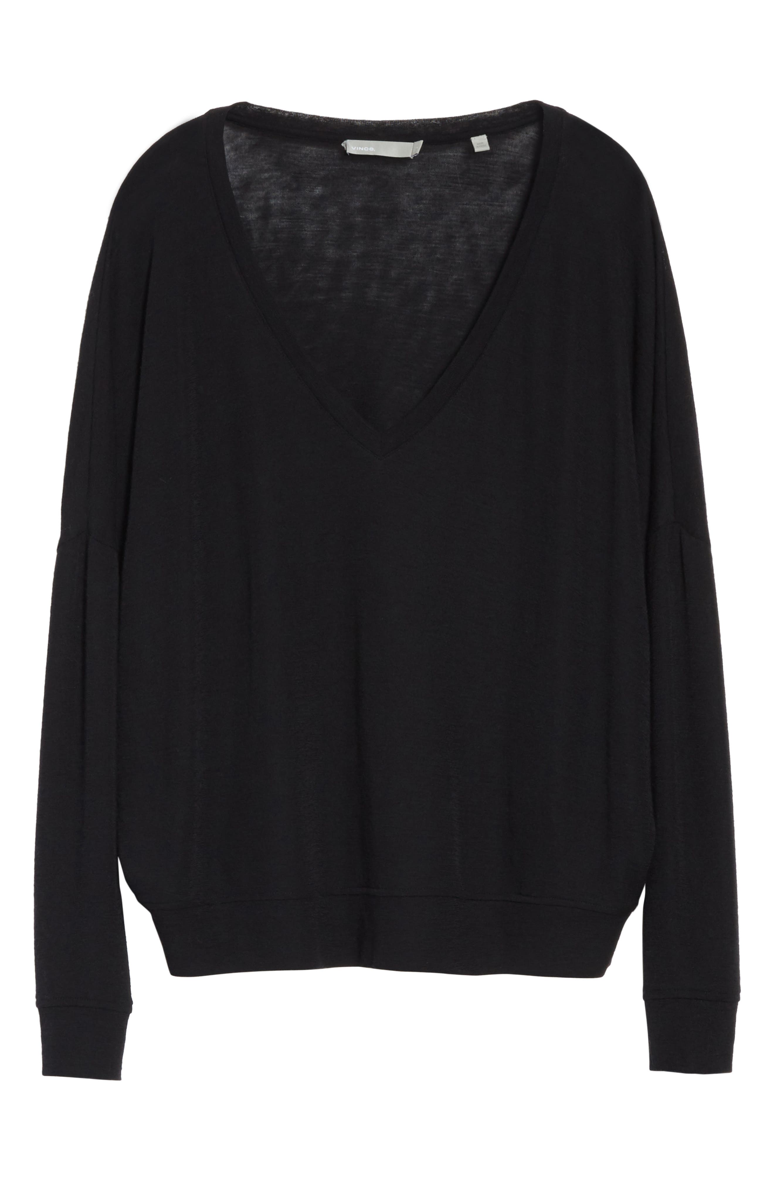 Drop Shoulder V-Neck Sweater,                             Alternate thumbnail 6, color,                             001