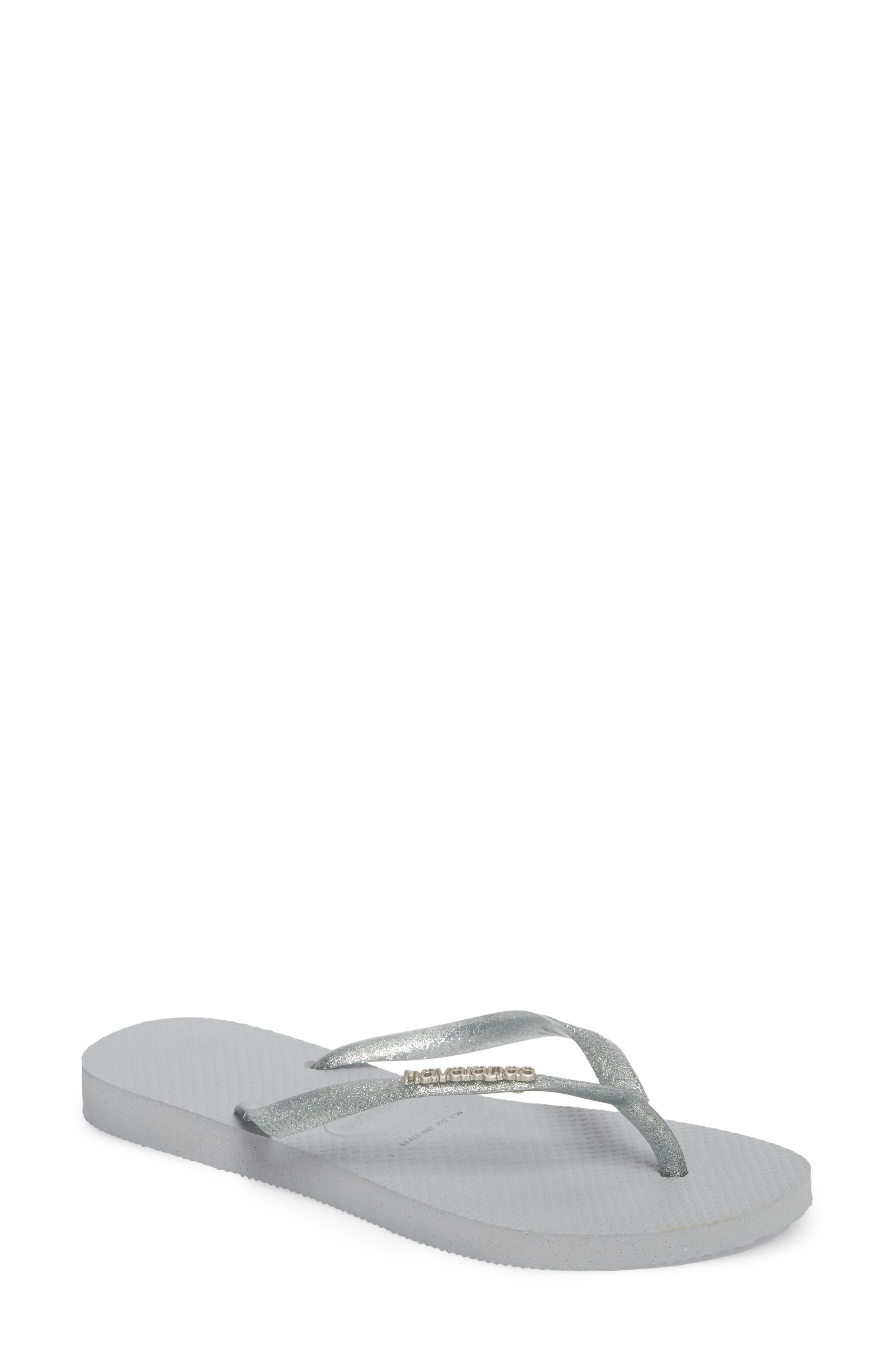 'Slim Logo' Metallic Flip Flop,                         Main,                         color, 021