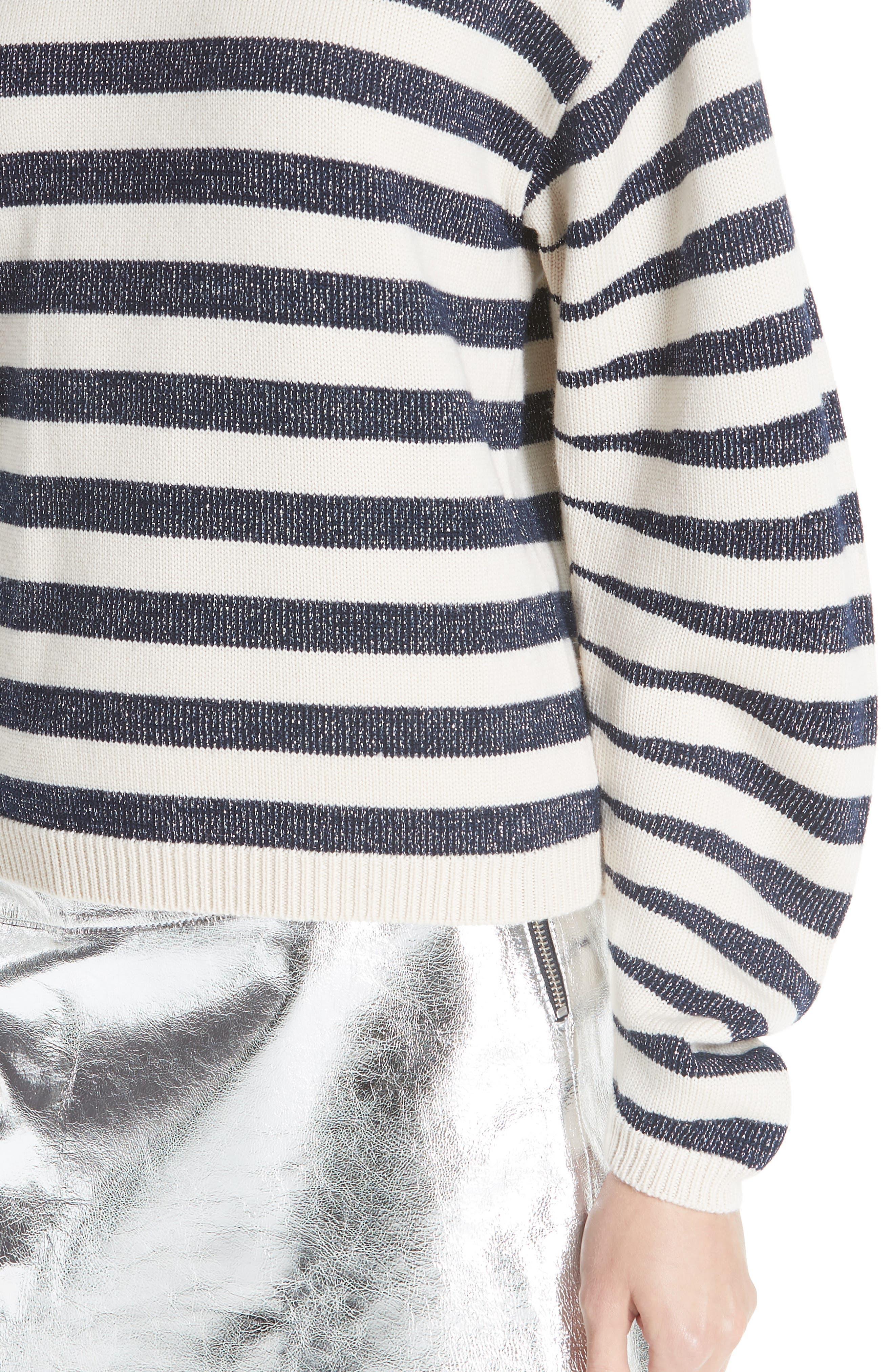Sunday Stripe Wool Blend Sweater,                             Alternate thumbnail 4, color,                             WHITE