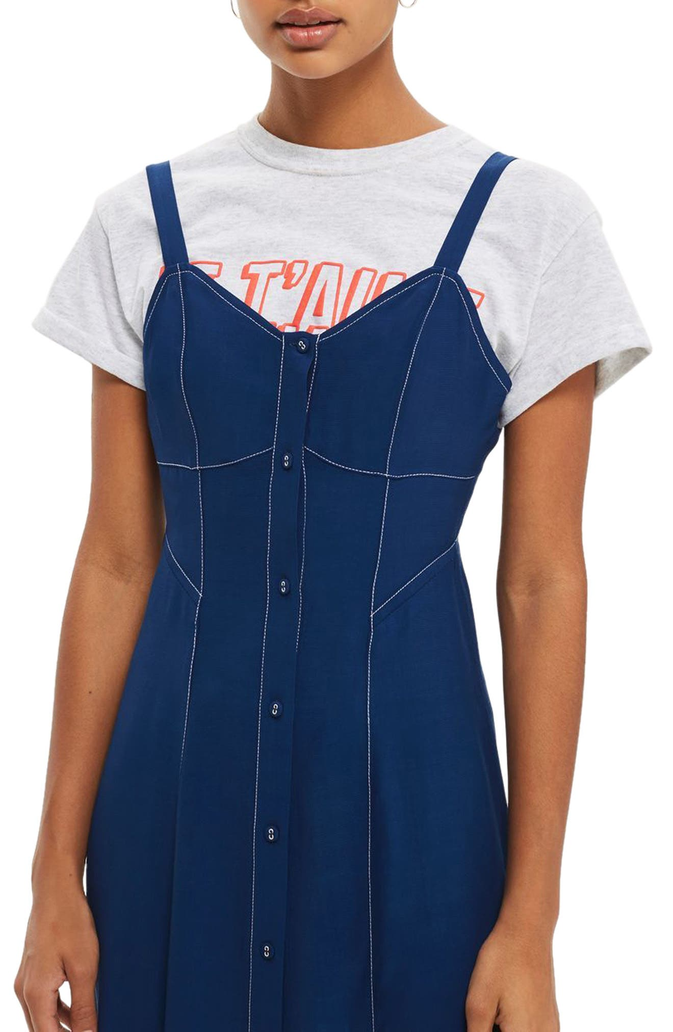 Topstitch Corset Midi Dress,                             Alternate thumbnail 2, color,                             410