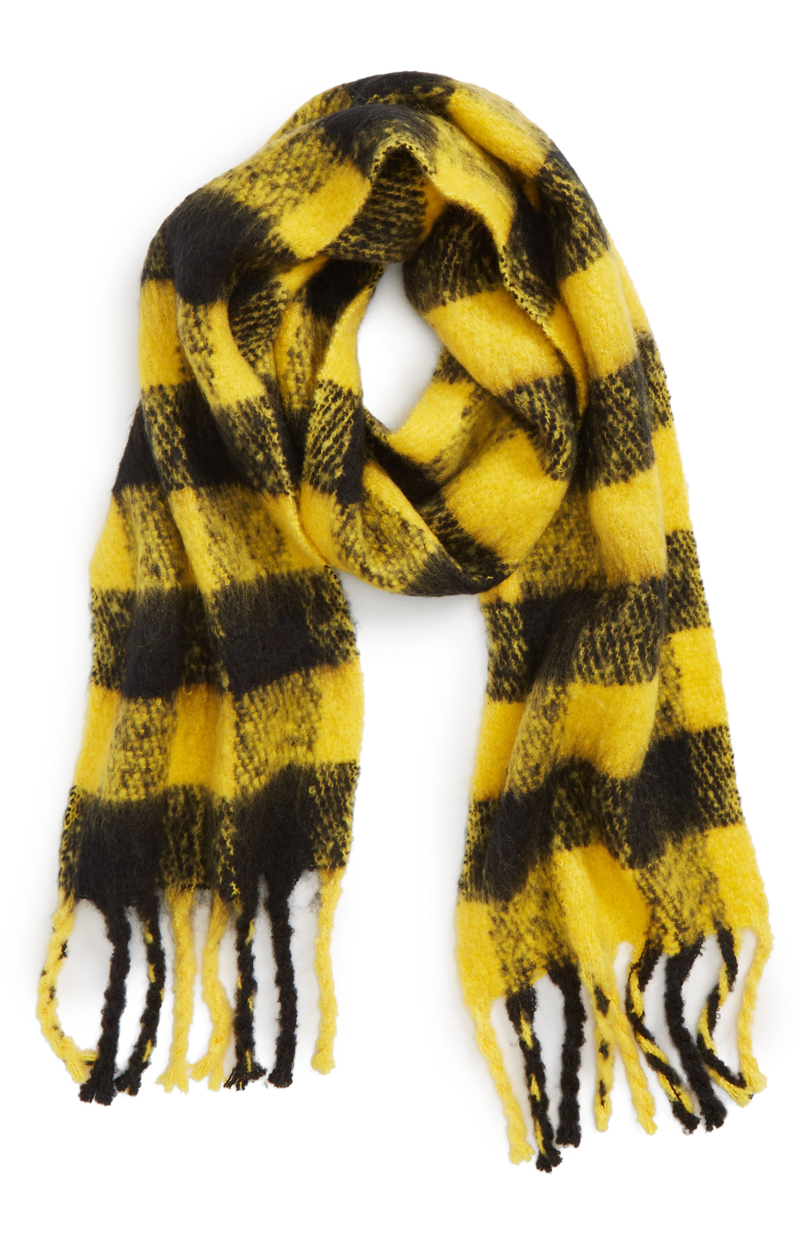 Heavy Punk Check Scarf,                             Alternate thumbnail 2, color,                             YELLOW MULTI