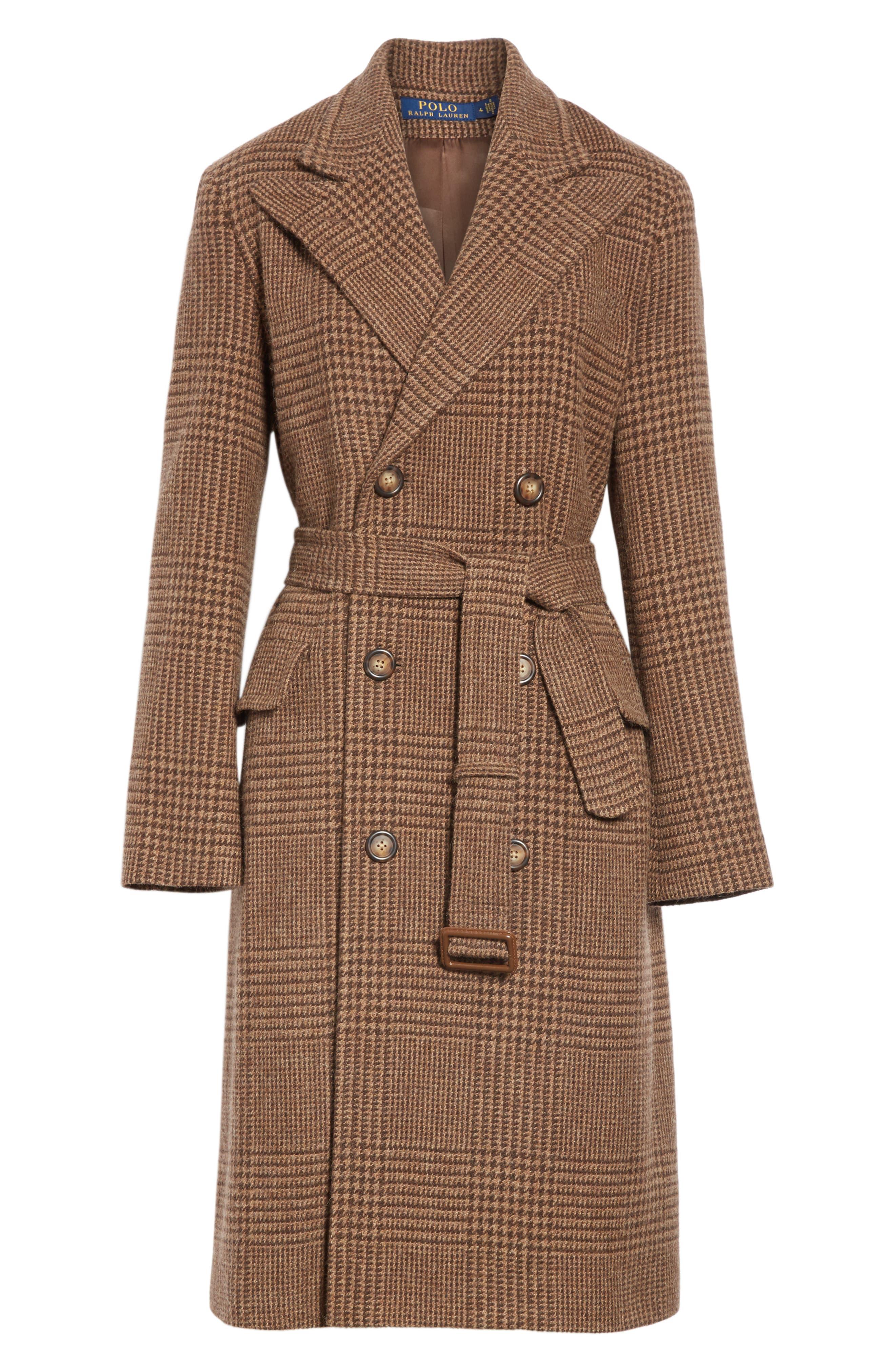 Plaid Lambswool & Alpaca Belted Coat,                             Alternate thumbnail 5, color,                             BROWN GLEN PLAID
