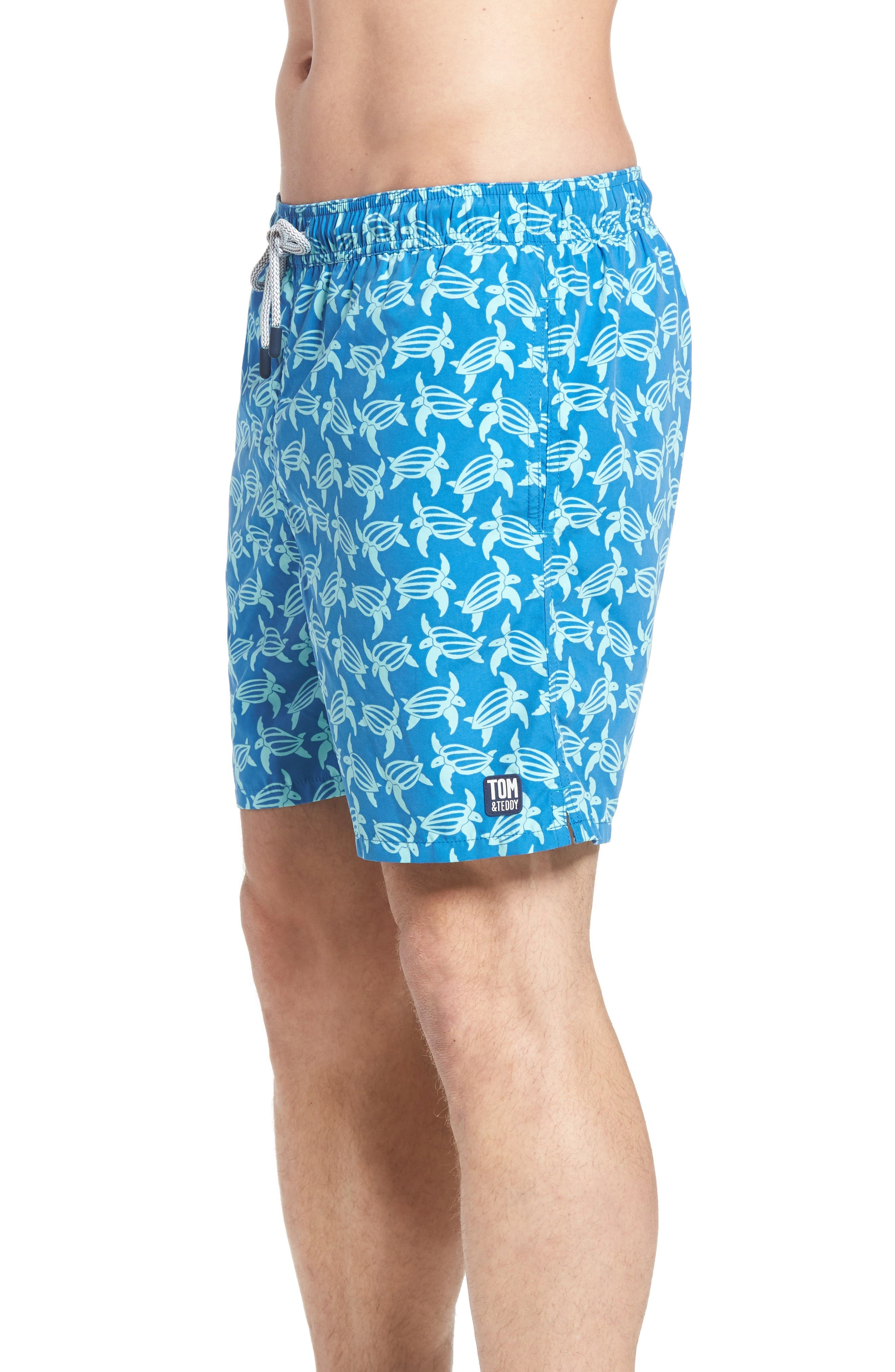 Turtle Print Swim Trunks,                             Alternate thumbnail 3, color,                             MID BLUE AND SKY