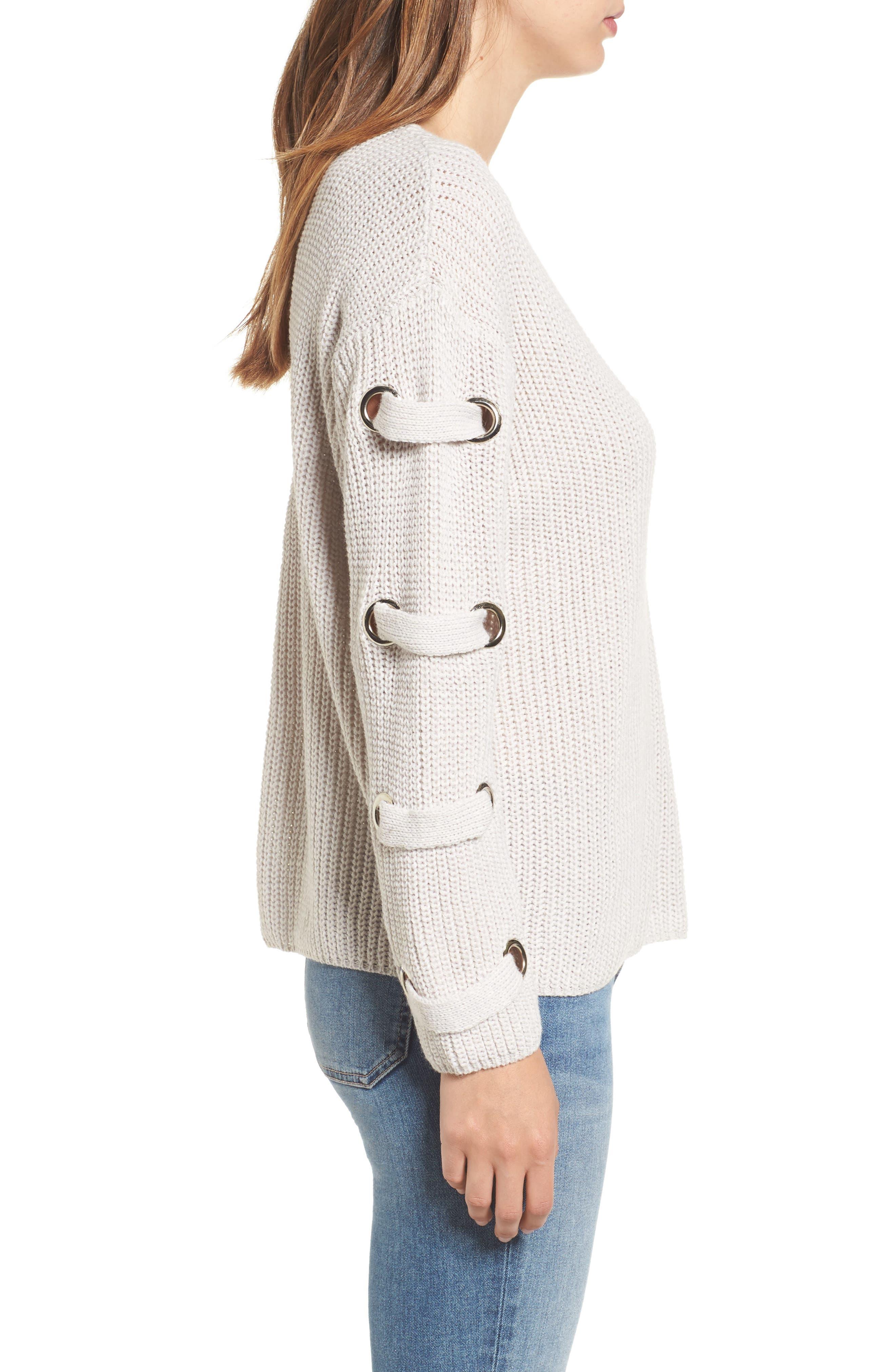 Grommet Sleeve Sweater,                             Alternate thumbnail 3, color,                             050