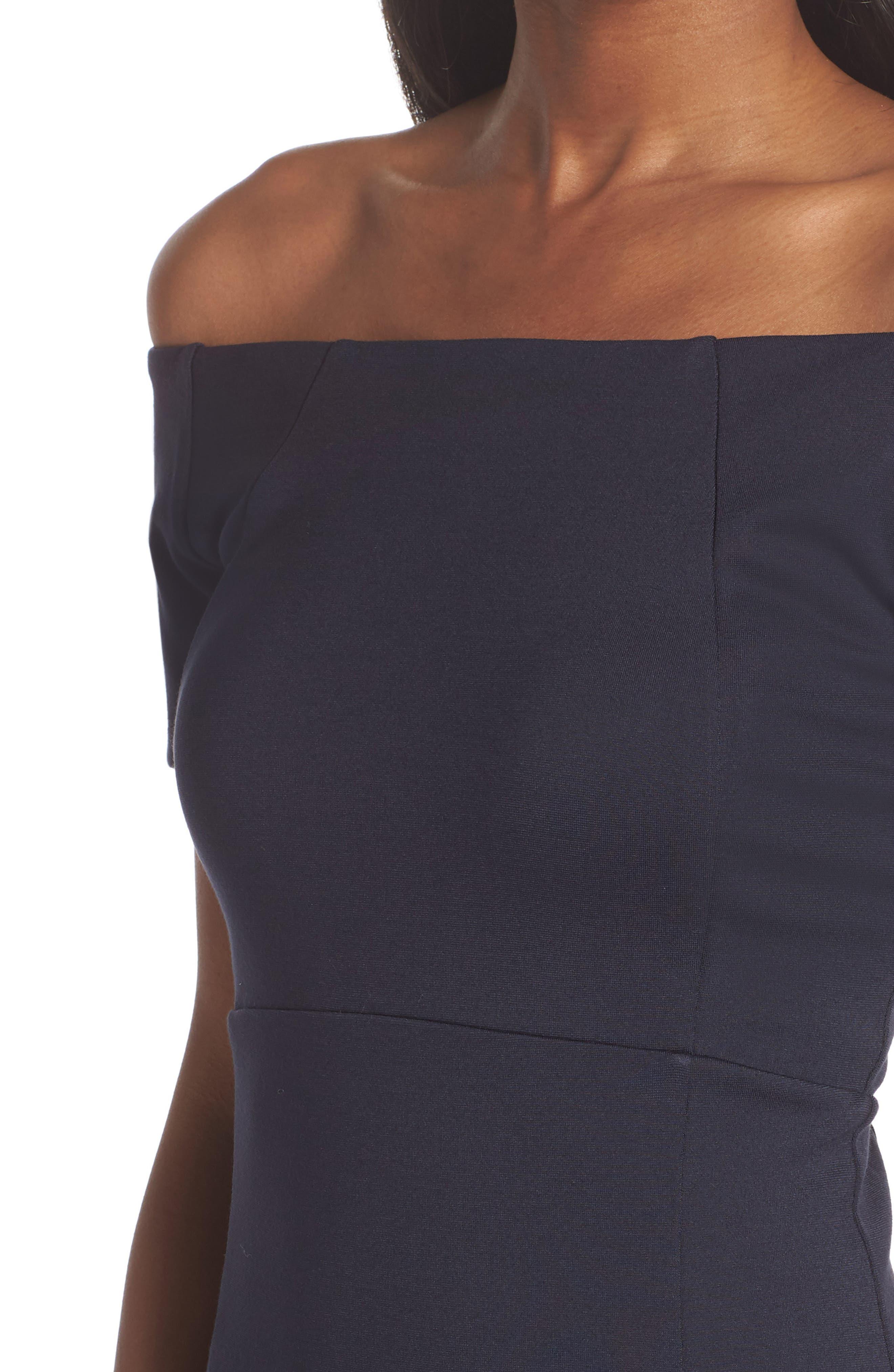 Off the Shoulder Sheath Dress,                             Alternate thumbnail 4, color,                             400