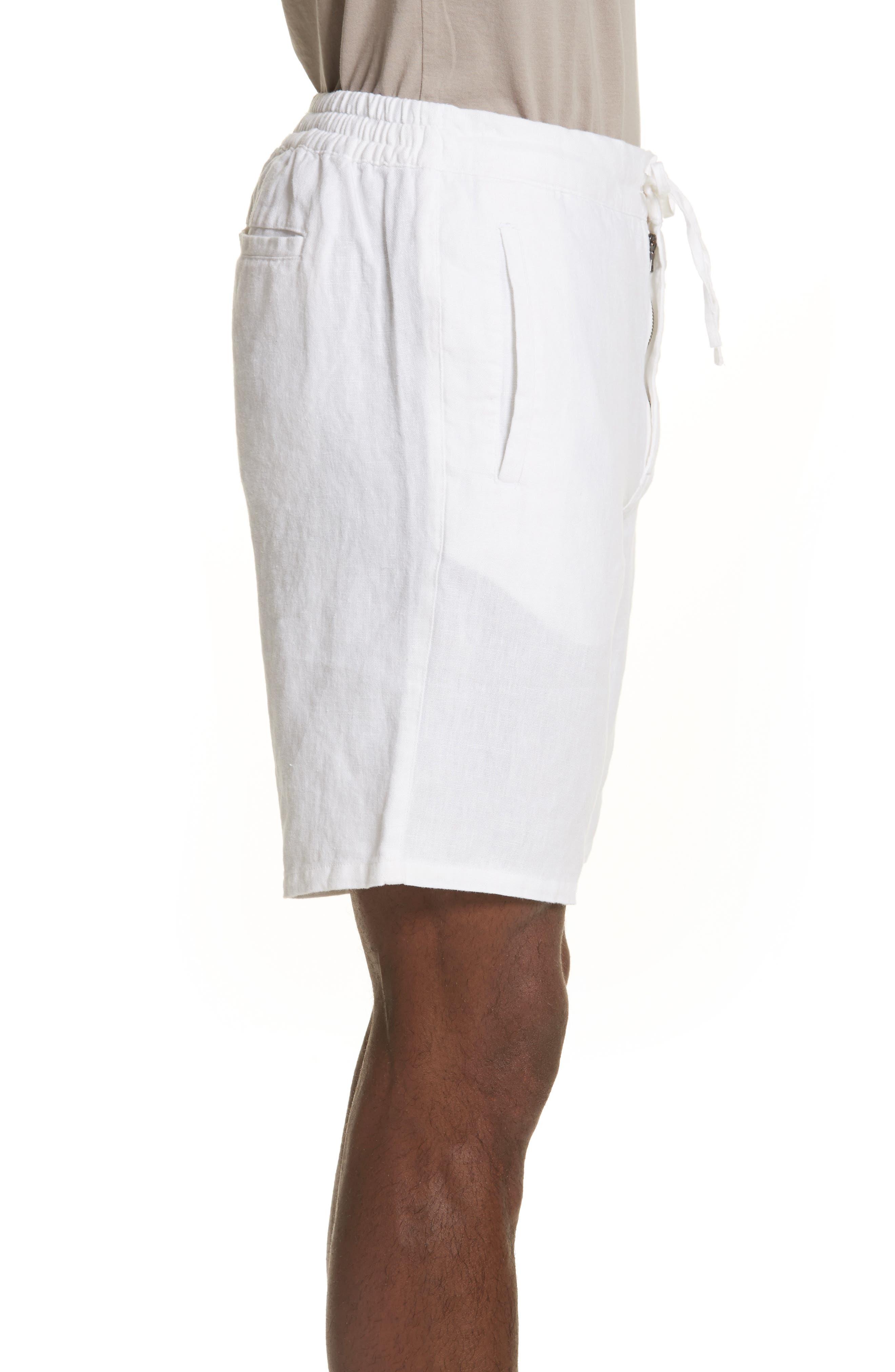 Max Linen Shorts,                             Alternate thumbnail 3, color,                             WHITE