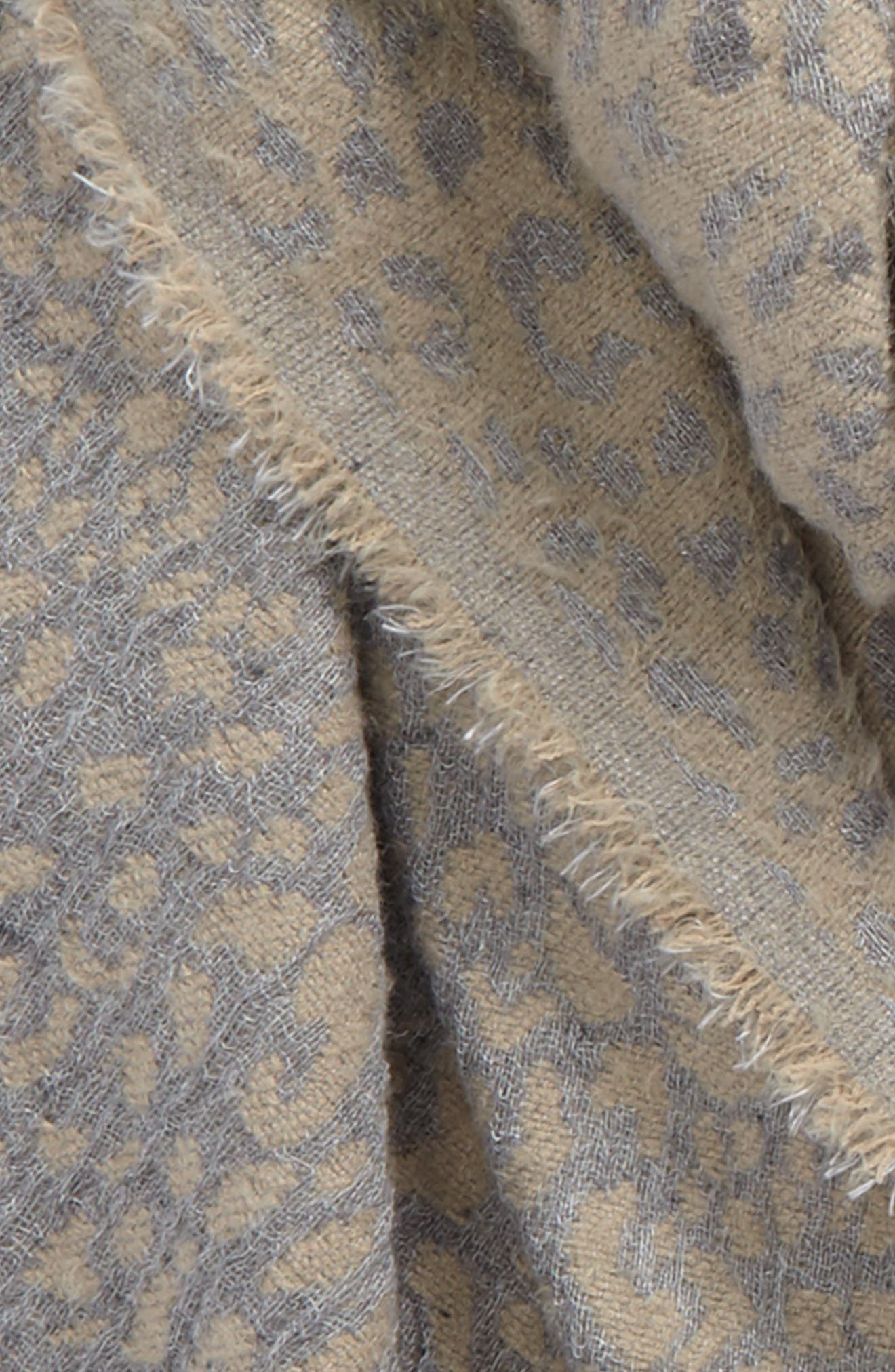 SOLE SOCIETY,                             Leopard Pattern Scarf,                             Alternate thumbnail 3, color,                             250