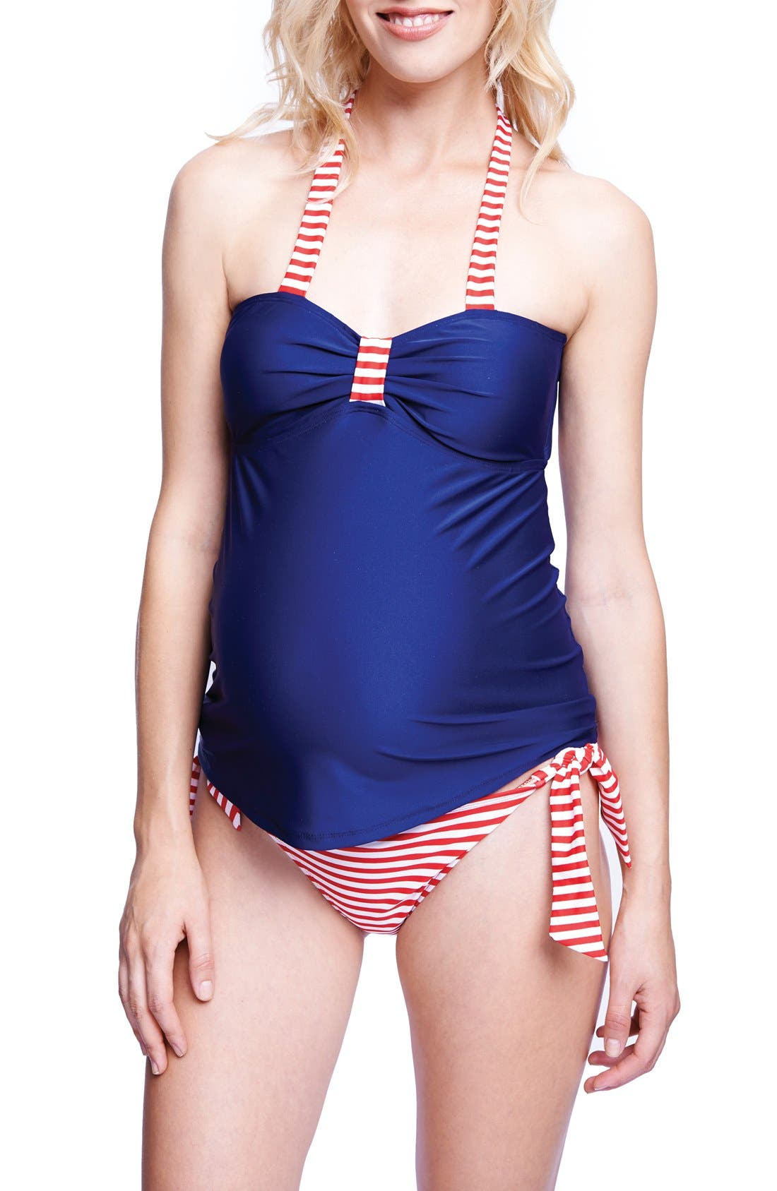 Maternity 'Carrie' Halter Tankini,                         Main,                         color, NAVY/ RED STRIPES