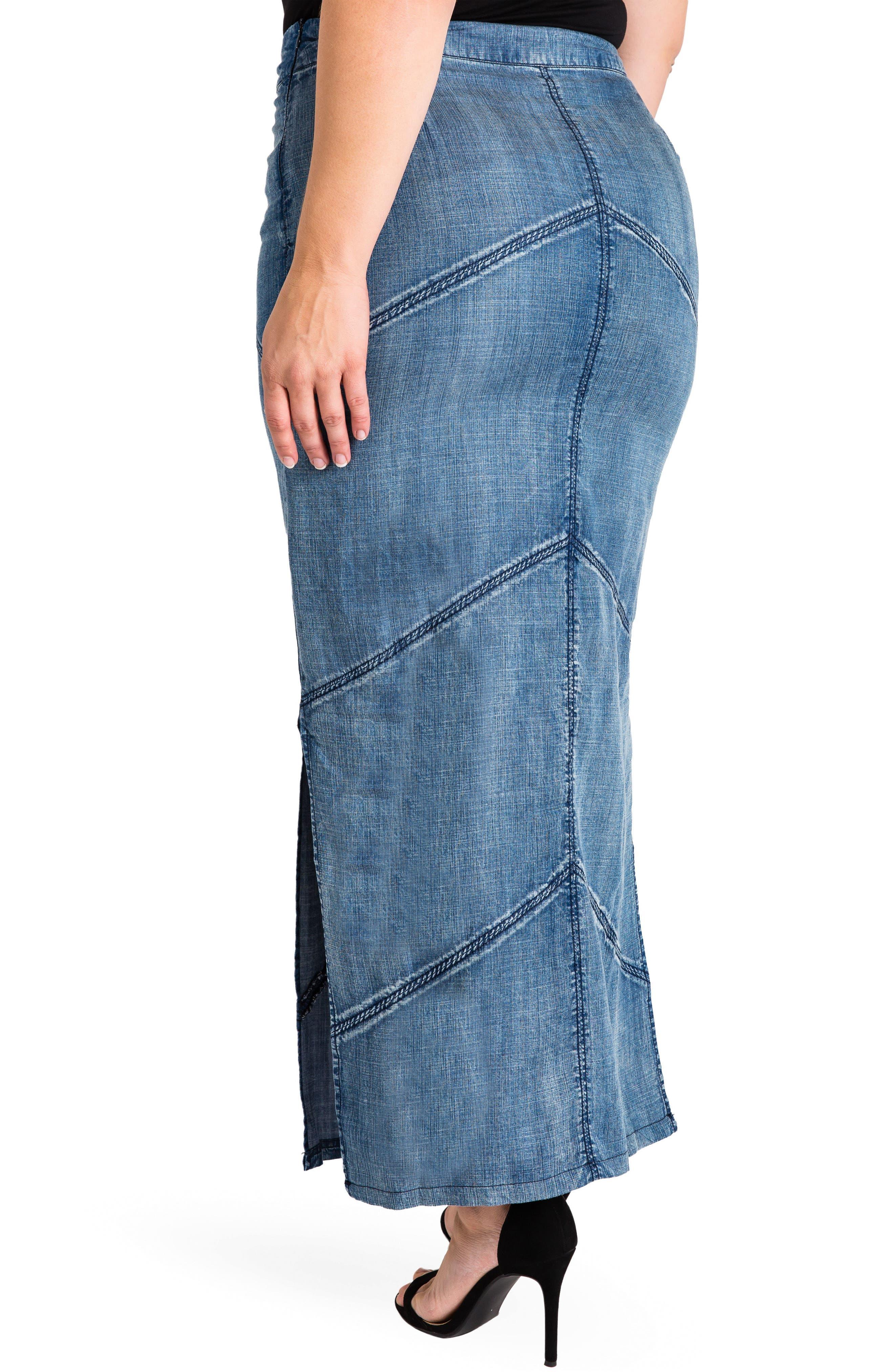 Paulina Maxi Pencil Skirt,                             Alternate thumbnail 2, color,                             DARK BLUE
