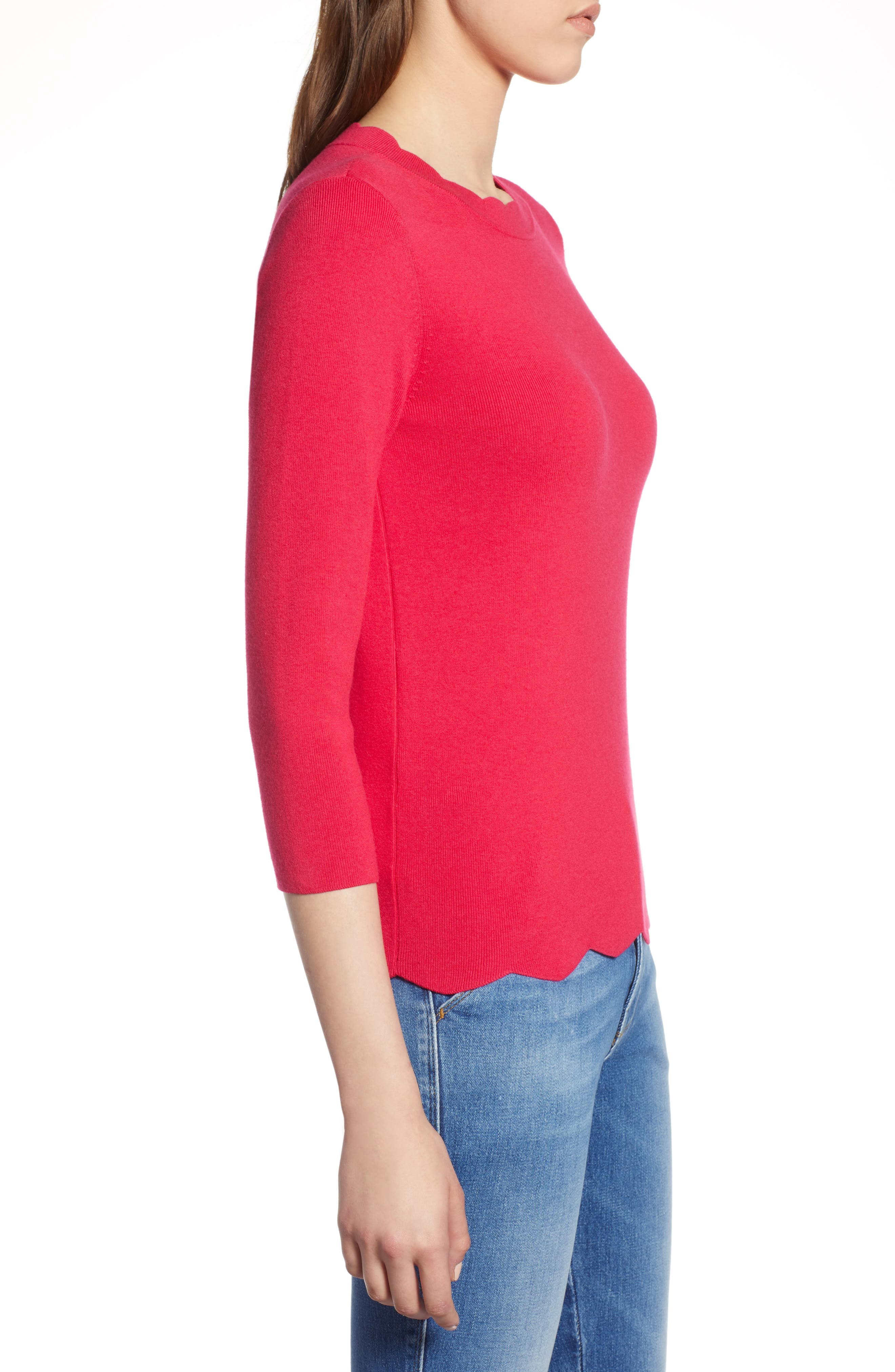 Halogen Scallop Edge Sweater,                             Alternate thumbnail 26, color,