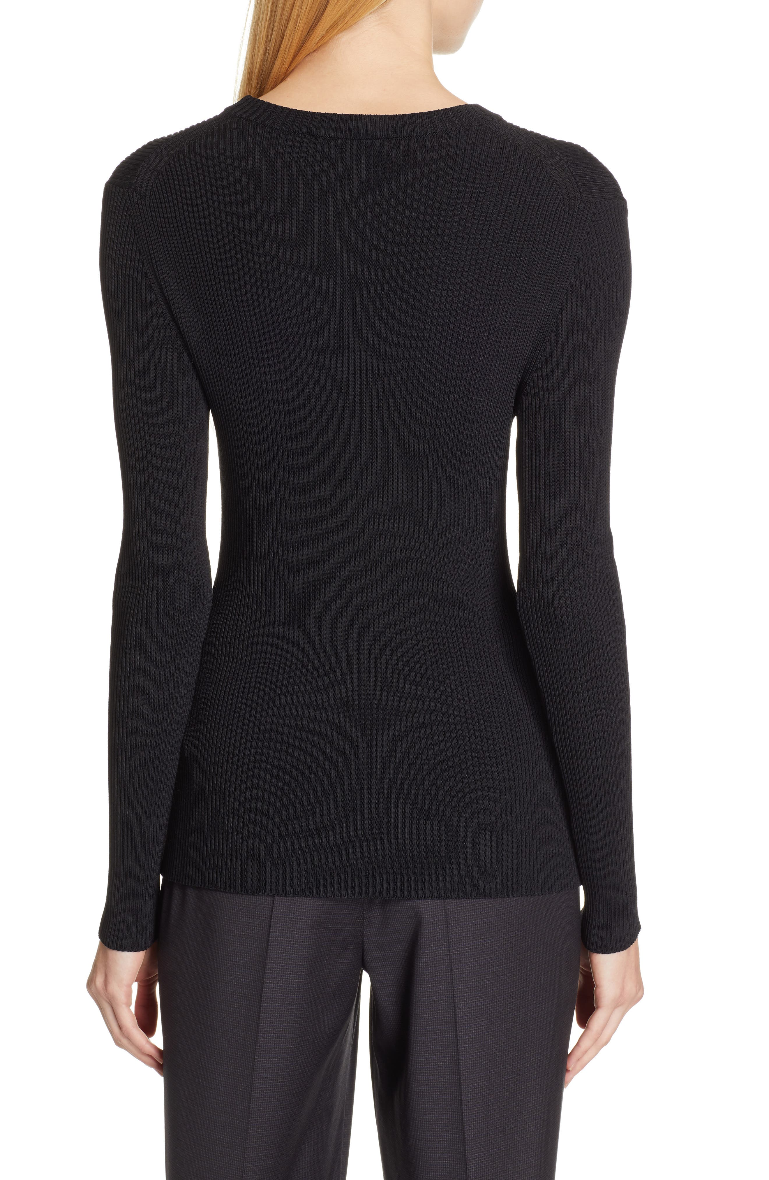 BOSS,                             Febecca Ribbed Sweater,                             Alternate thumbnail 2, color,                             BLACK