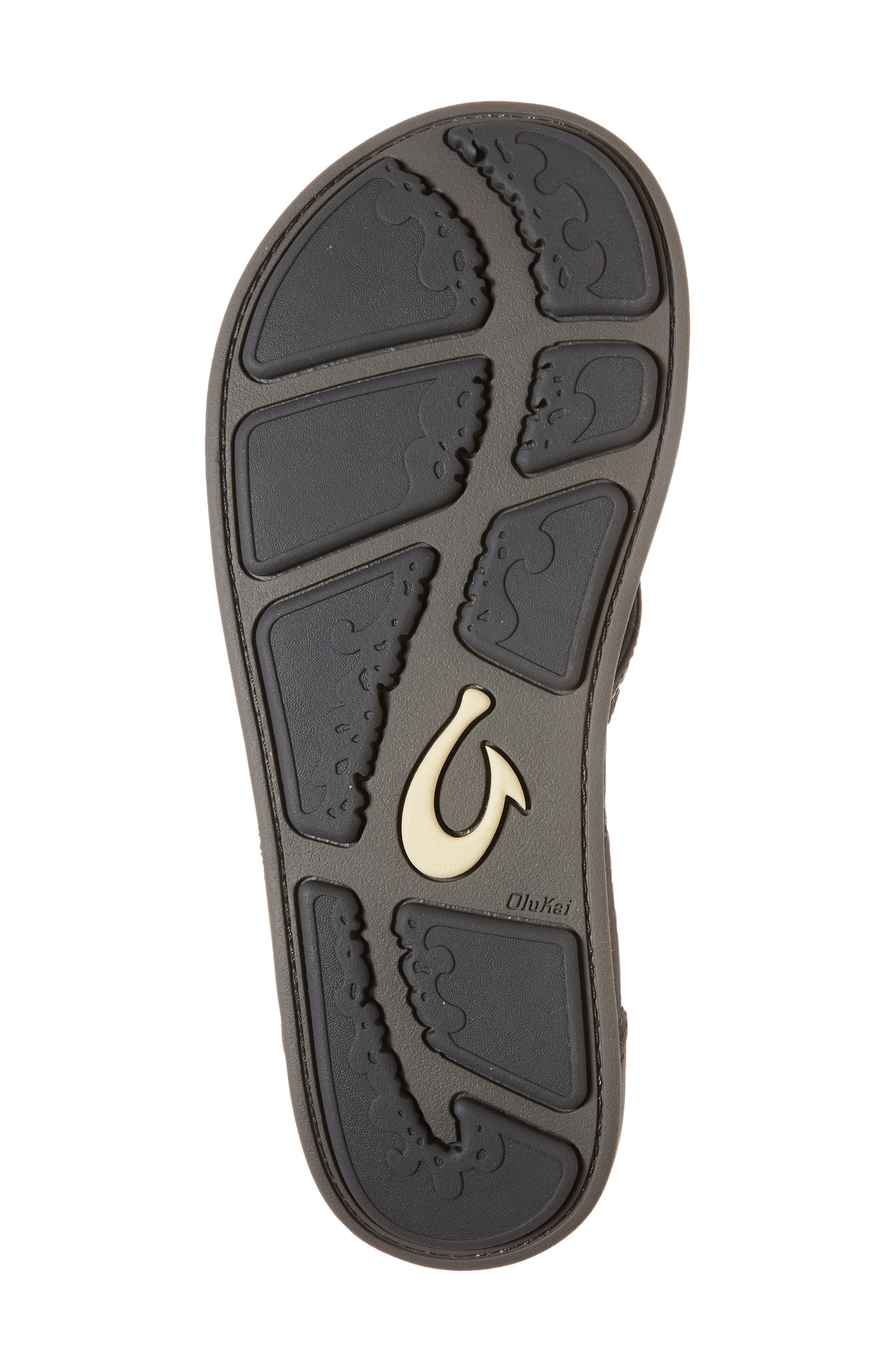 'Nui' Leather Flip Flop,                             Alternate thumbnail 6, color,                             DARK SHADOW/ CHARCOAL LEATHER