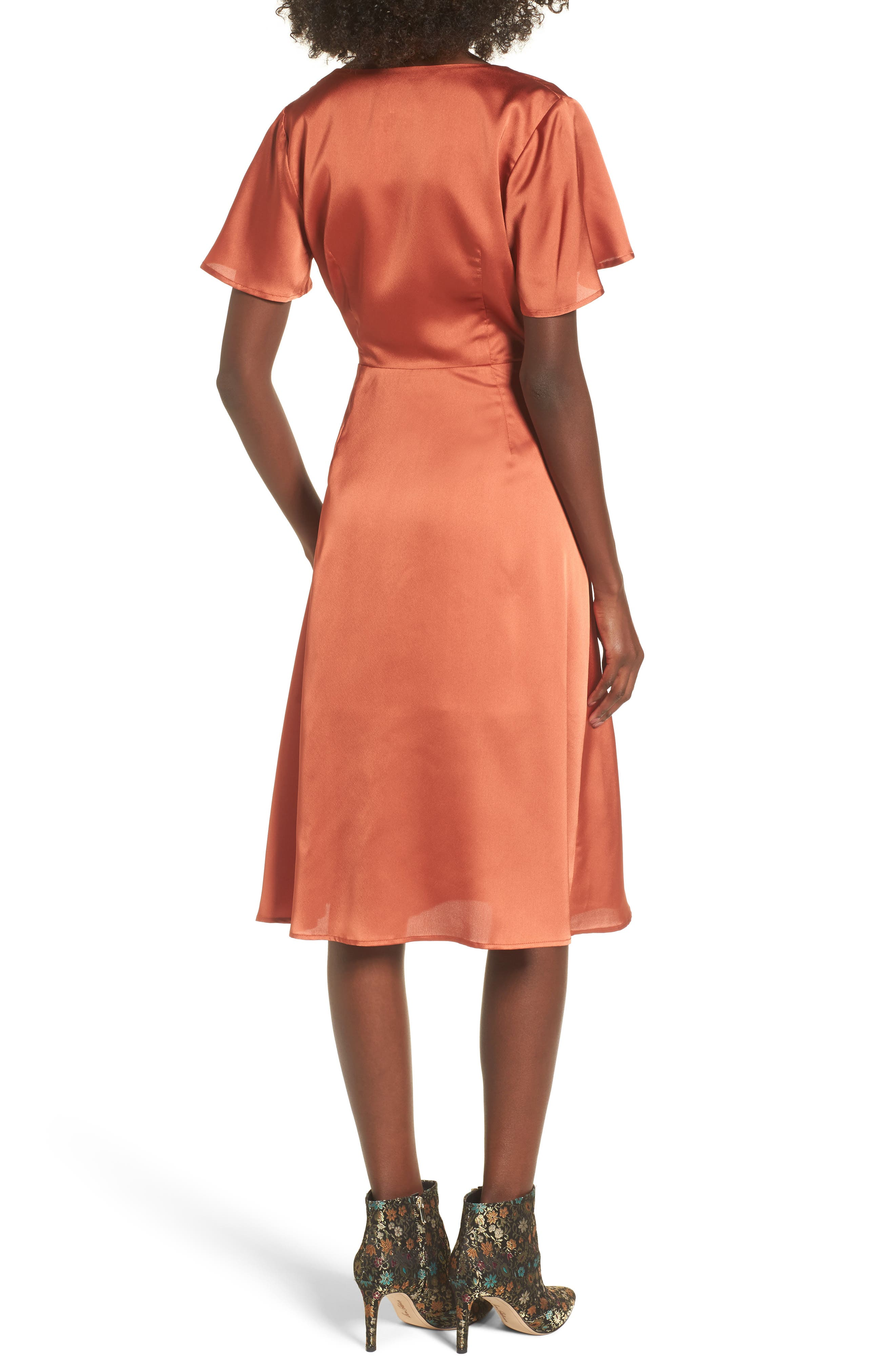 Satin Wrap Dress,                             Alternate thumbnail 2, color,                             201