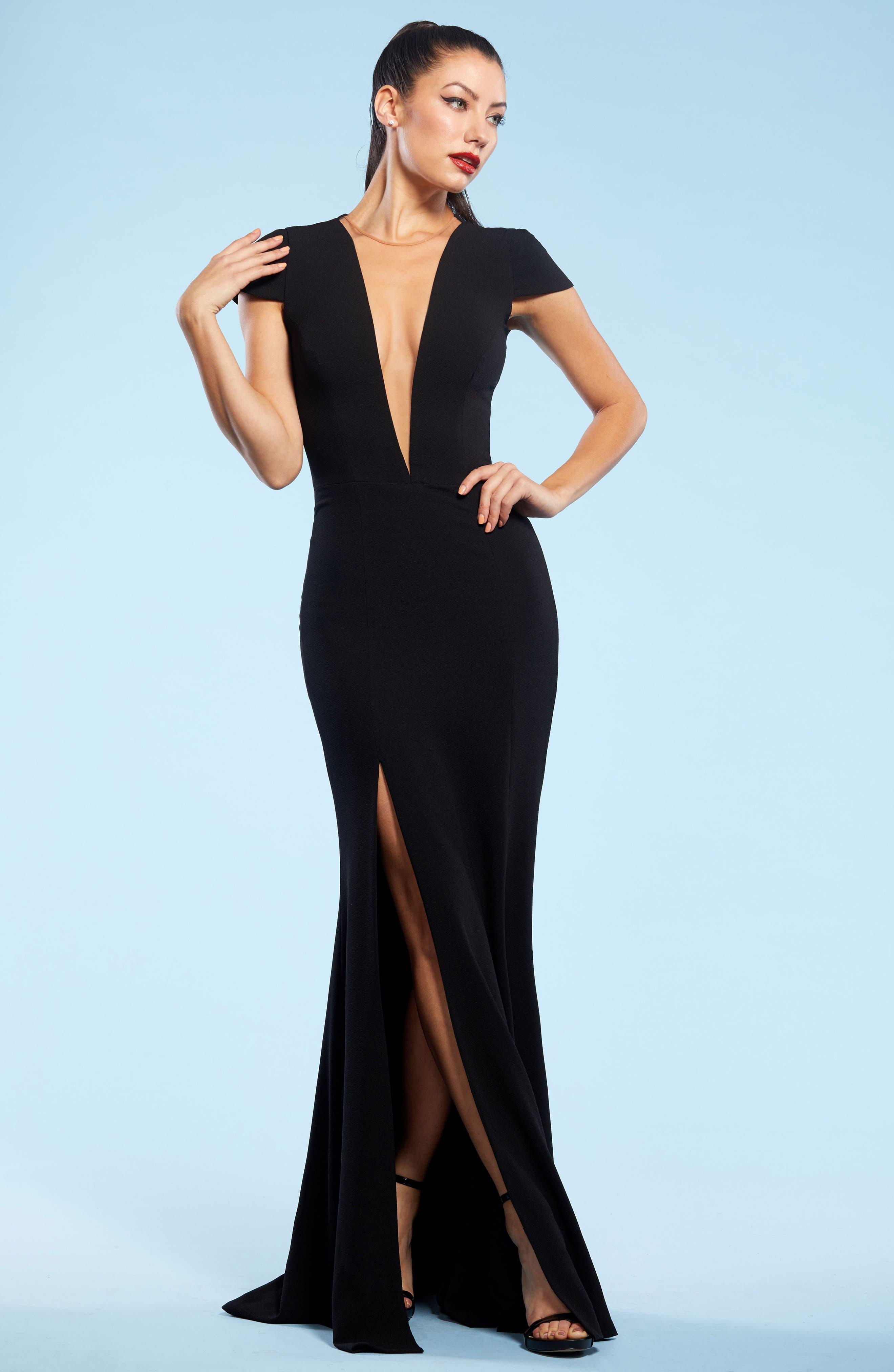 Leah Illusion Inset Crepe Gown,                             Alternate thumbnail 5, color,                             BLACK