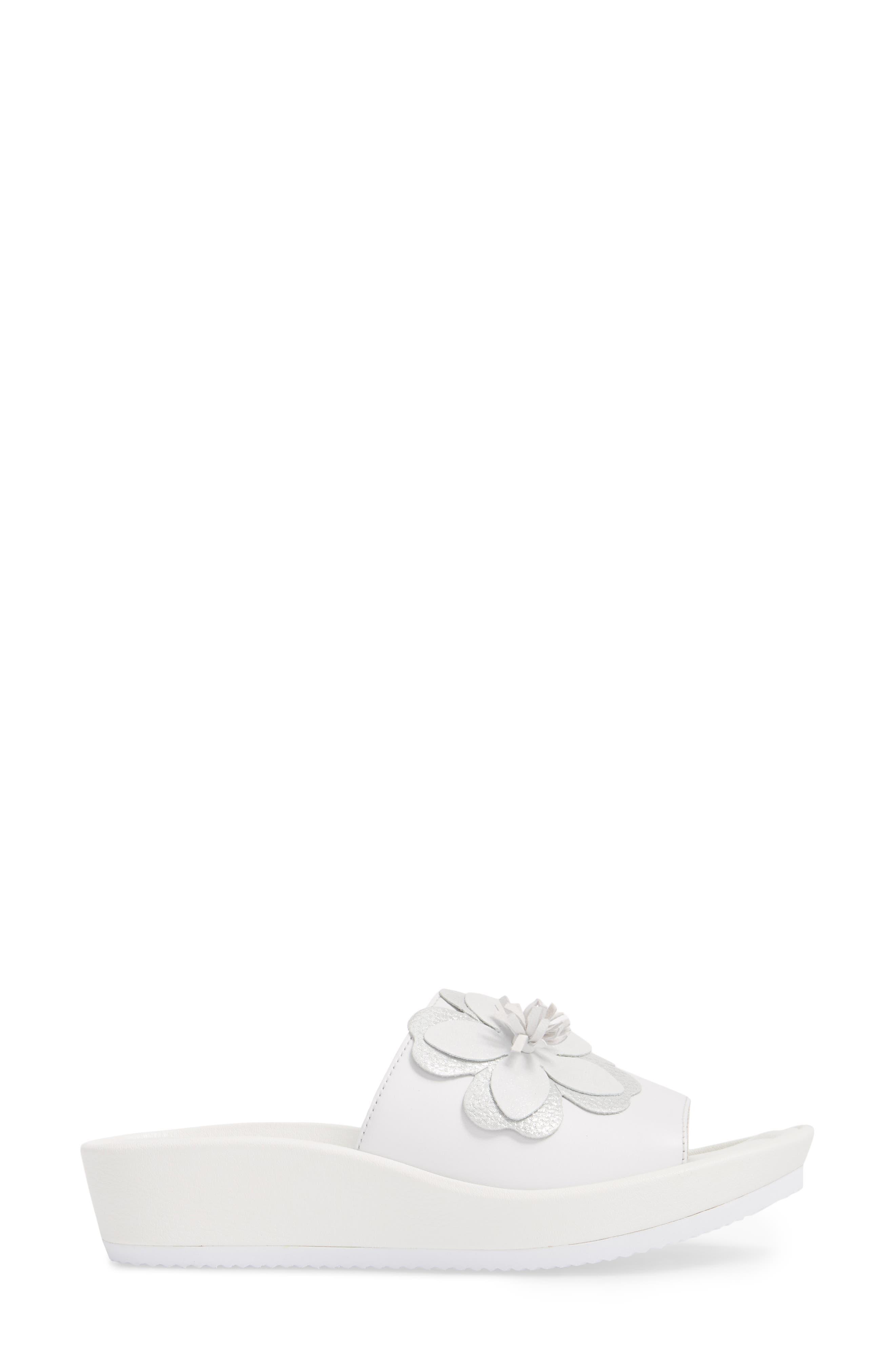 Thea Wedge Slide Sandal,                             Alternate thumbnail 3, color,                             WHITE LEATHER
