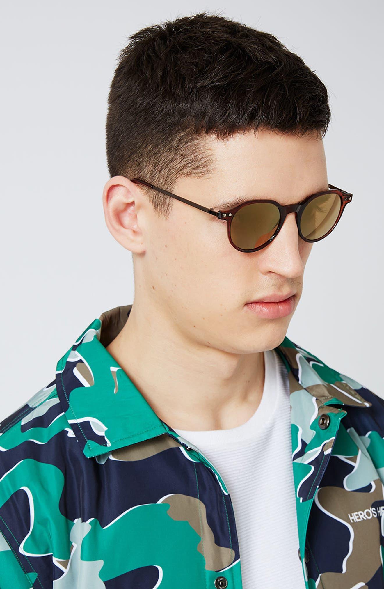 45mm Round Sunglasses,                             Alternate thumbnail 3, color,                             200