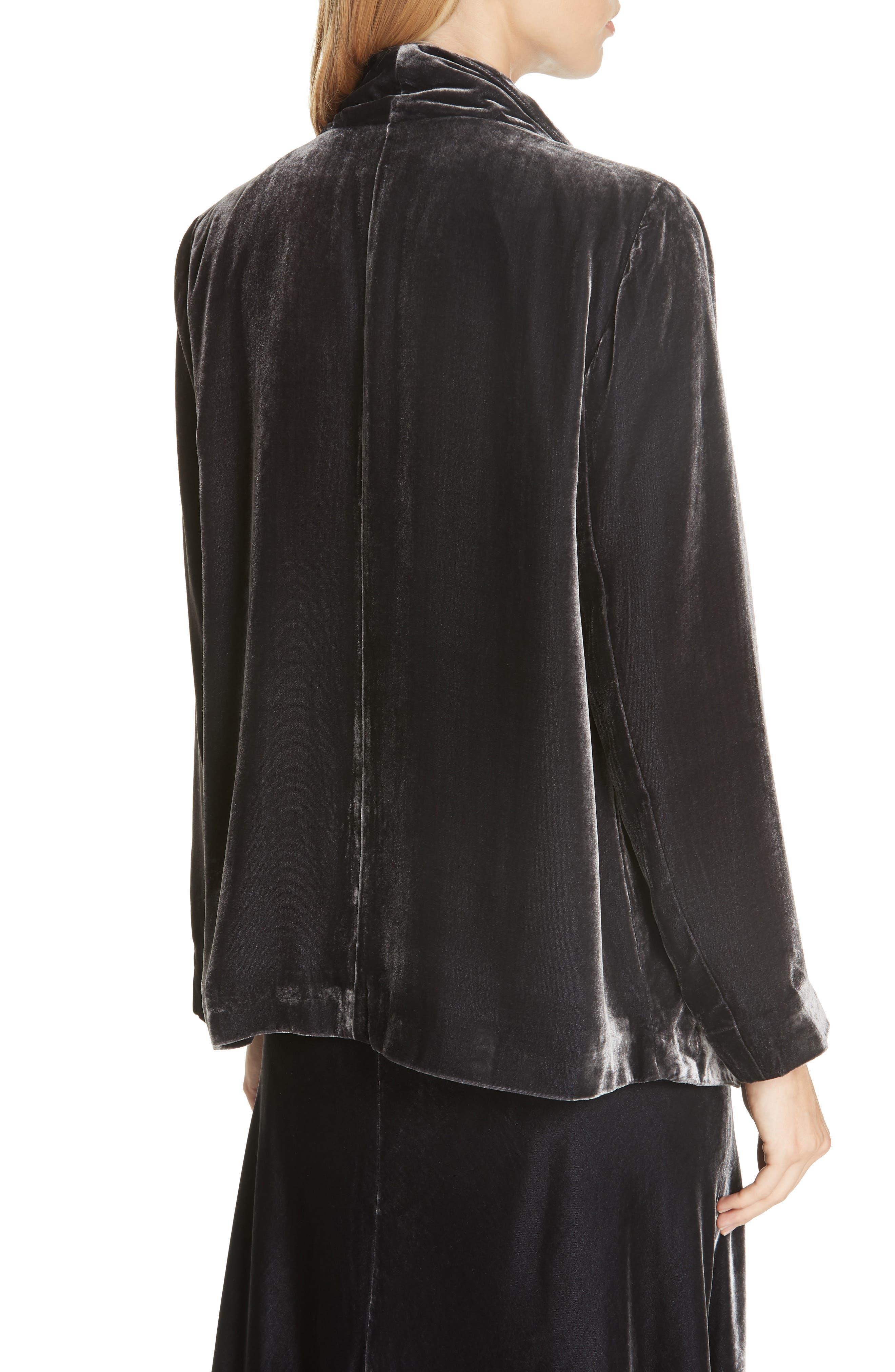 Angled Front Velvet Jacket,                             Alternate thumbnail 2, color,                             CHARCOAL