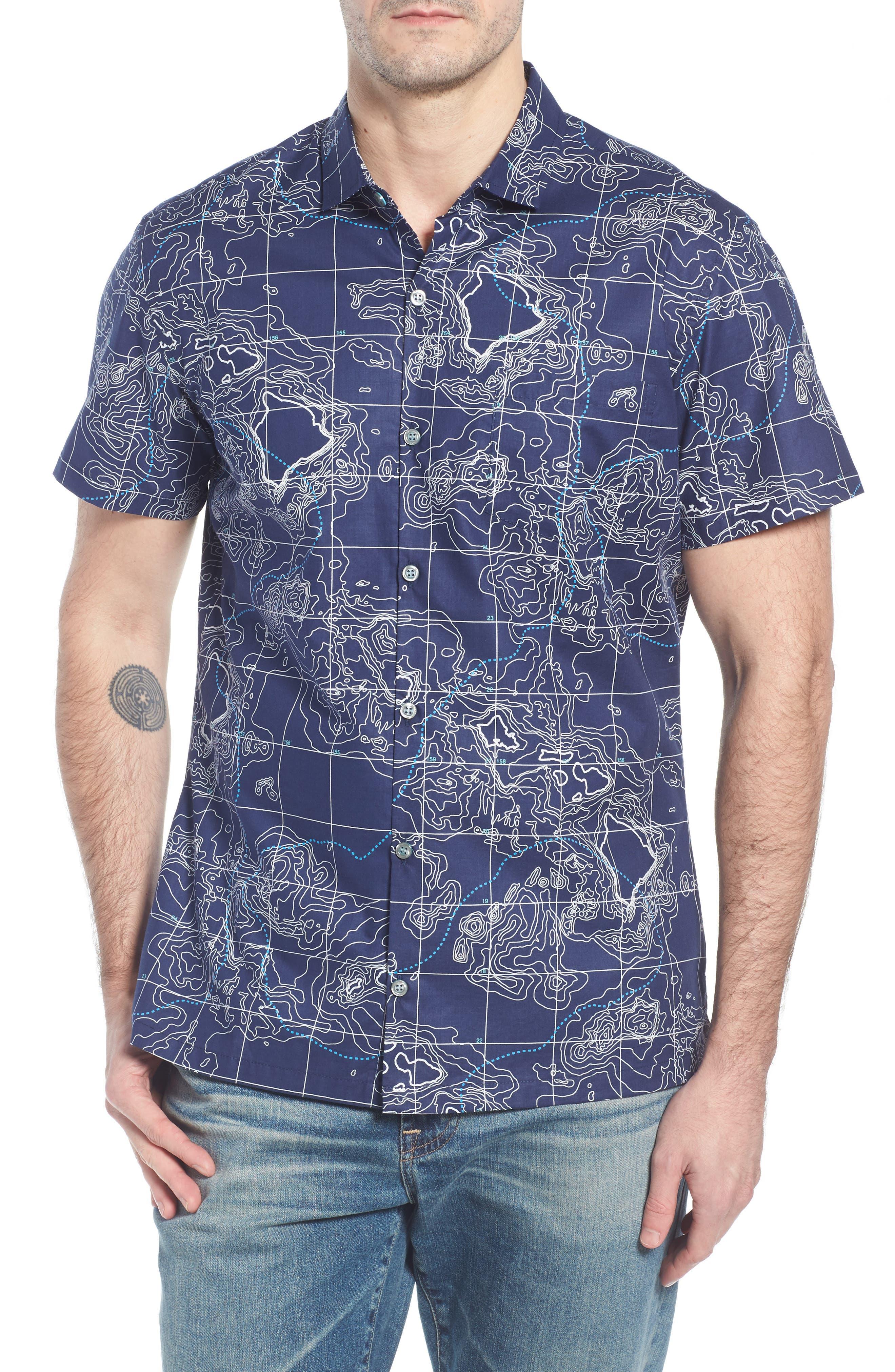 21N 158W Trim Fit Camp Shirt,                         Main,                         color, NAVY